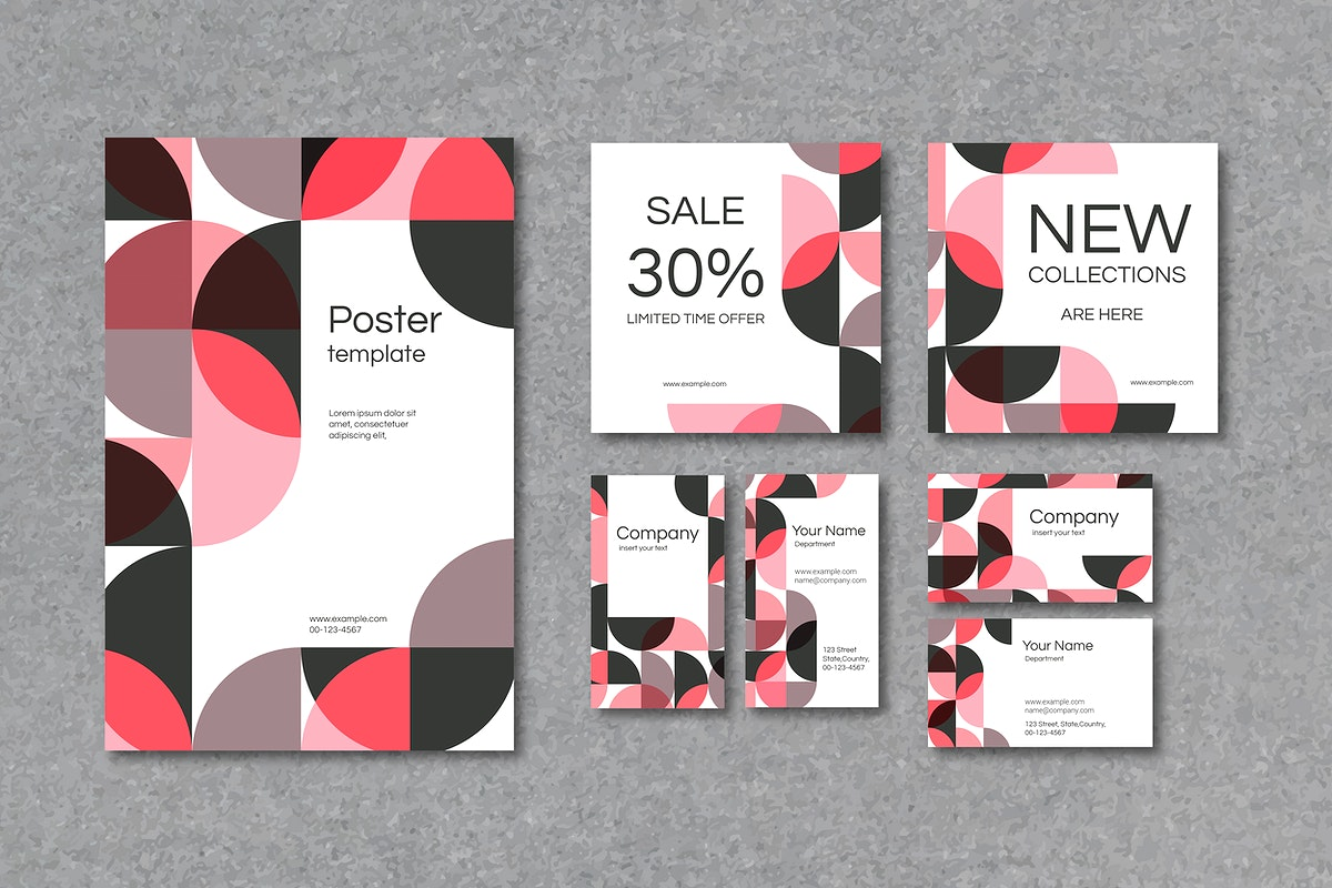 Pink geometric patterned poster and business card template vector set