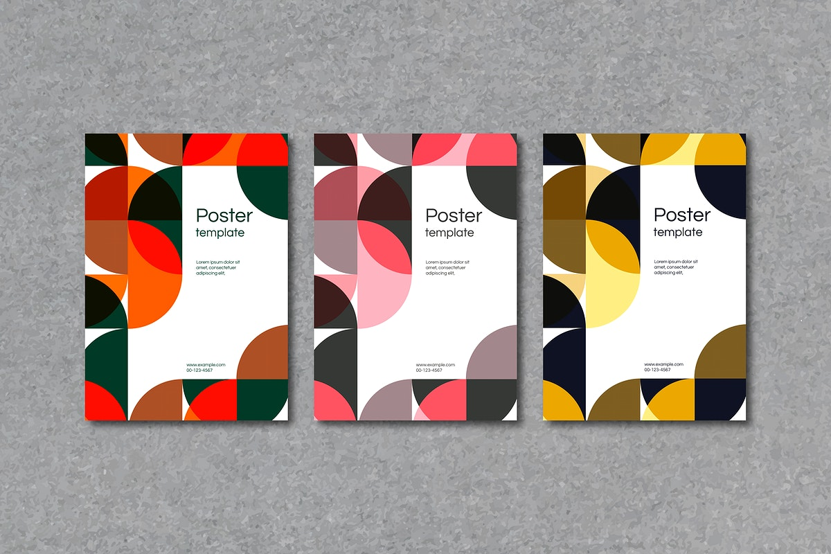 Colorful geometric patterned poster template vector set