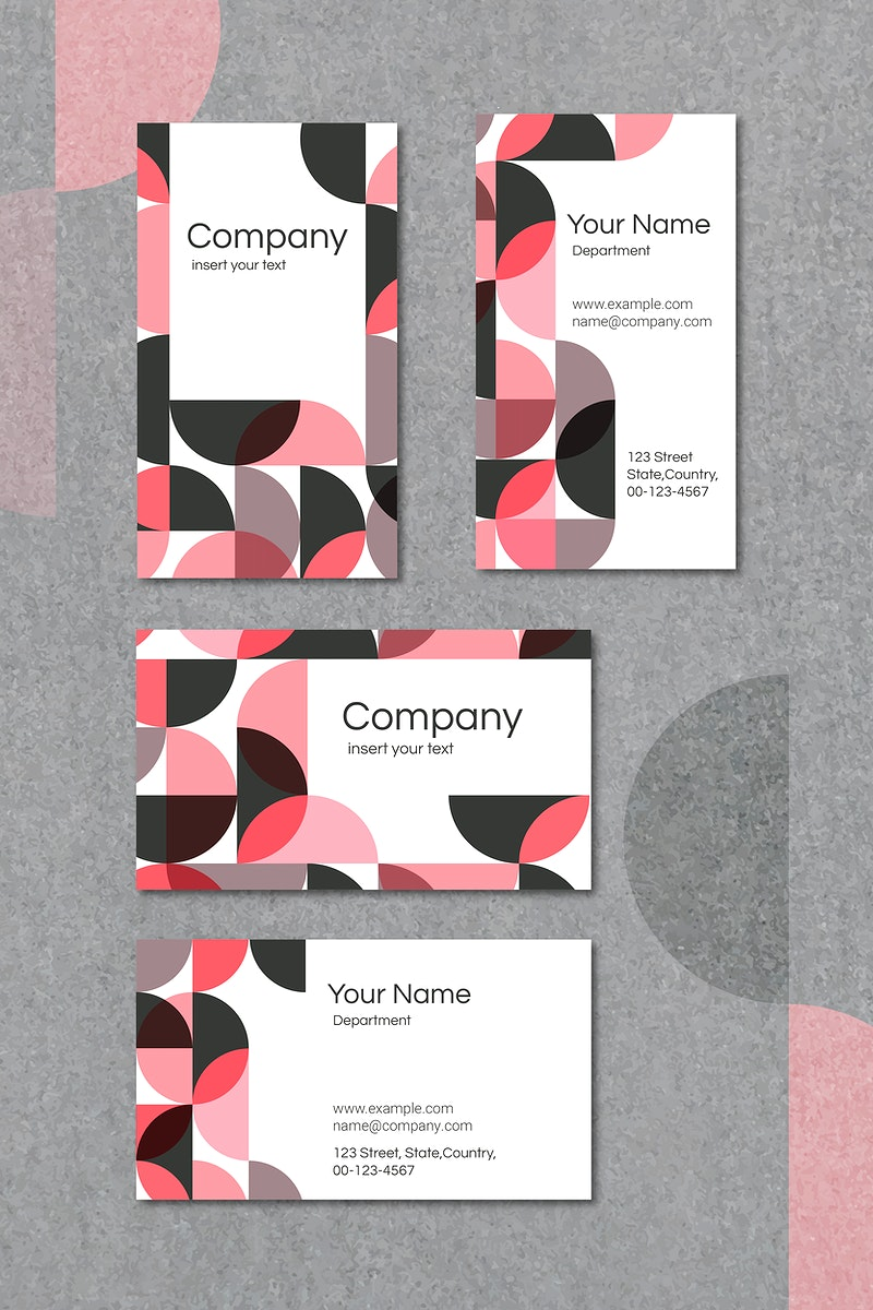 Pink geometric patterned business card template vector set