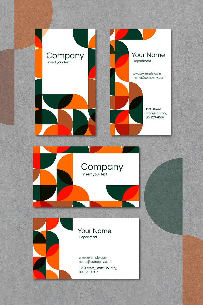 Orange and white geometric patterned business card template vector set