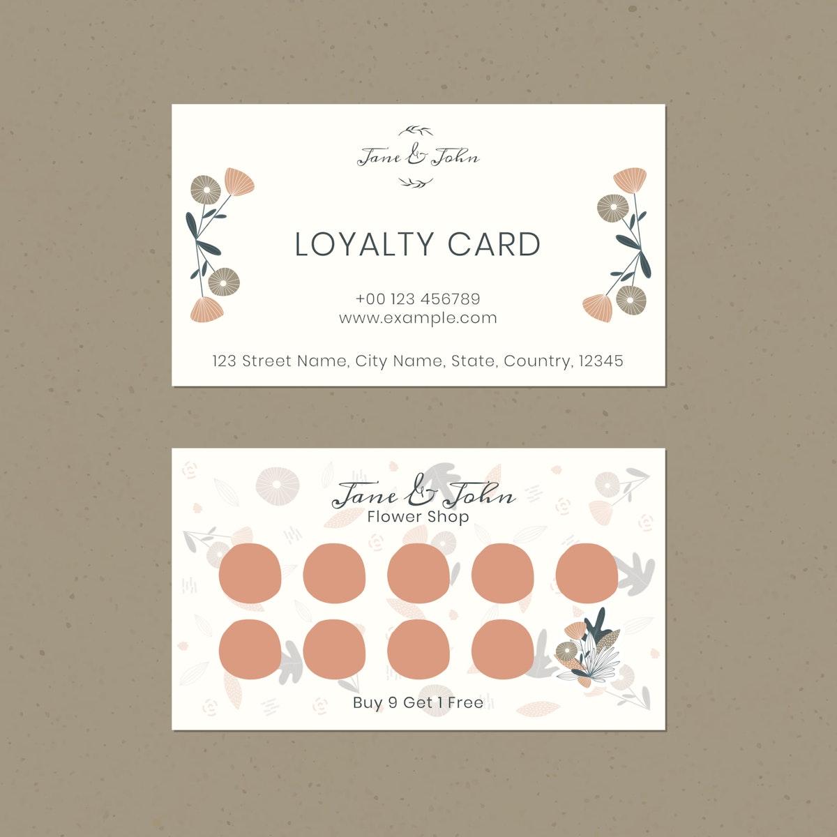 Floral loyalty card design vector