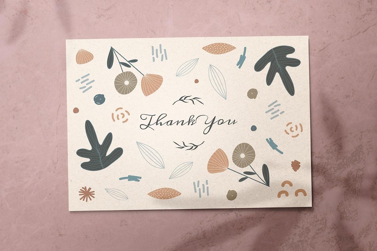 Thank you name card design vector