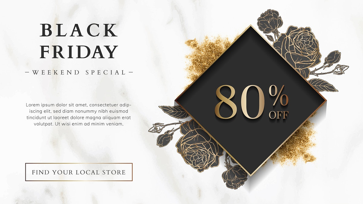 Black Friday 80% off sale sign on marble background vector