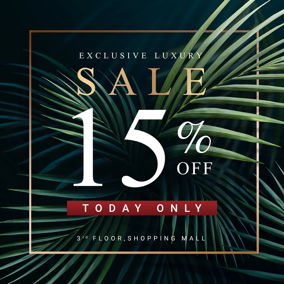 Sale sign on a tropical pam tree background vector