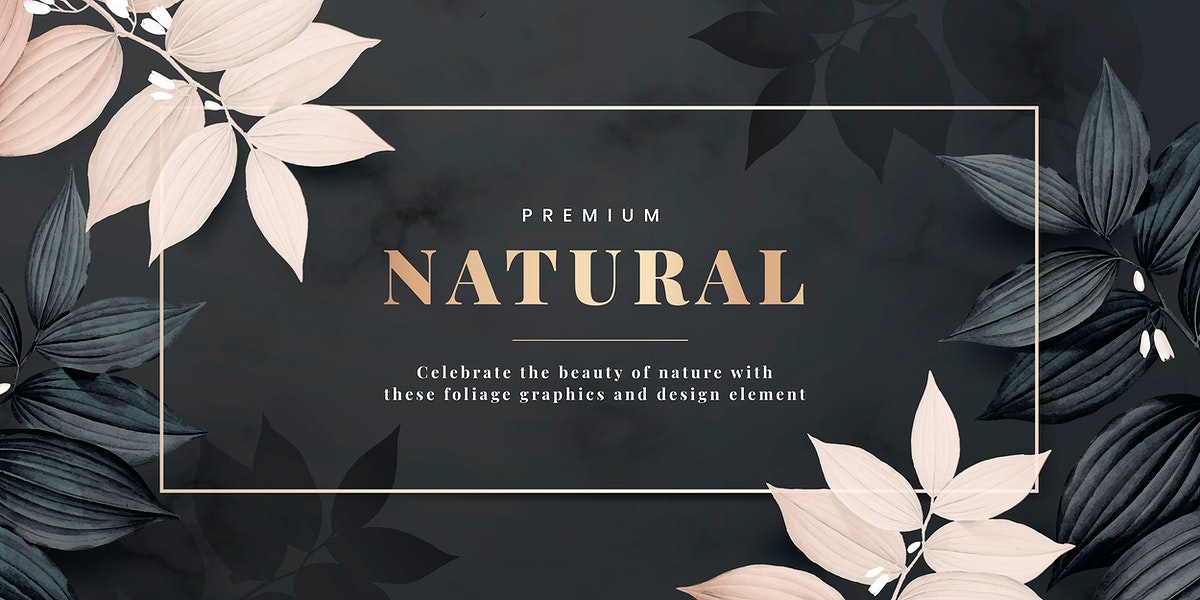 Premium natural frame decorated with pink leaves vector