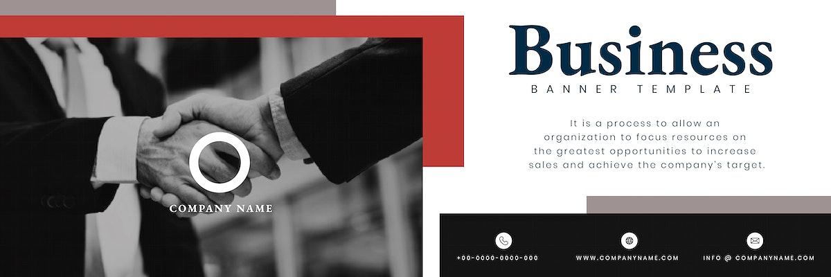 Handshake business banner template vector