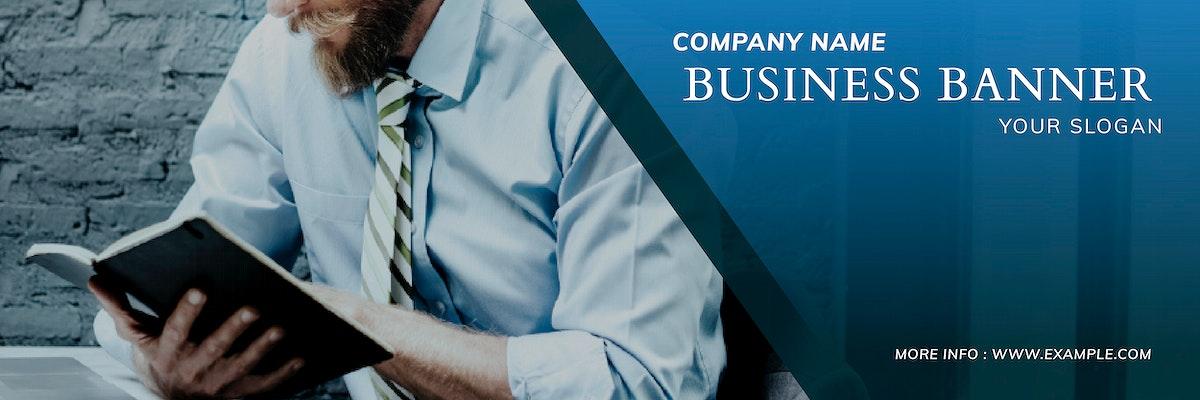 Blue business banner template vector