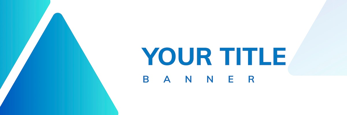 Blue triangle pattern on white banner template vector