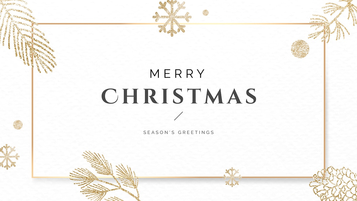 Christmas gold frame background template vector