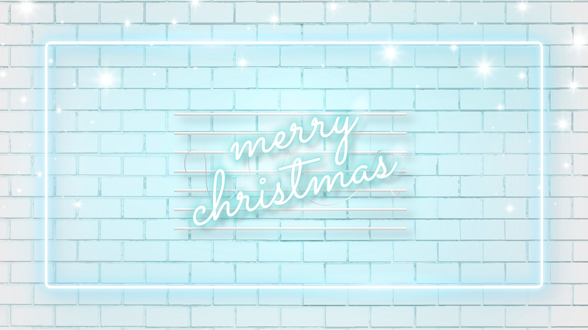 Blue neon on white brick background template vector