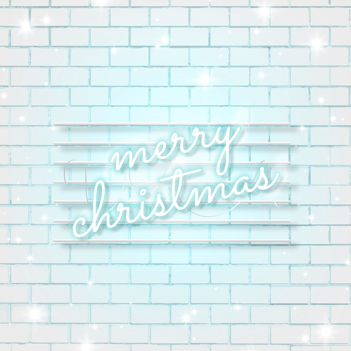 Blue neon text on white brick wall social ads template vector