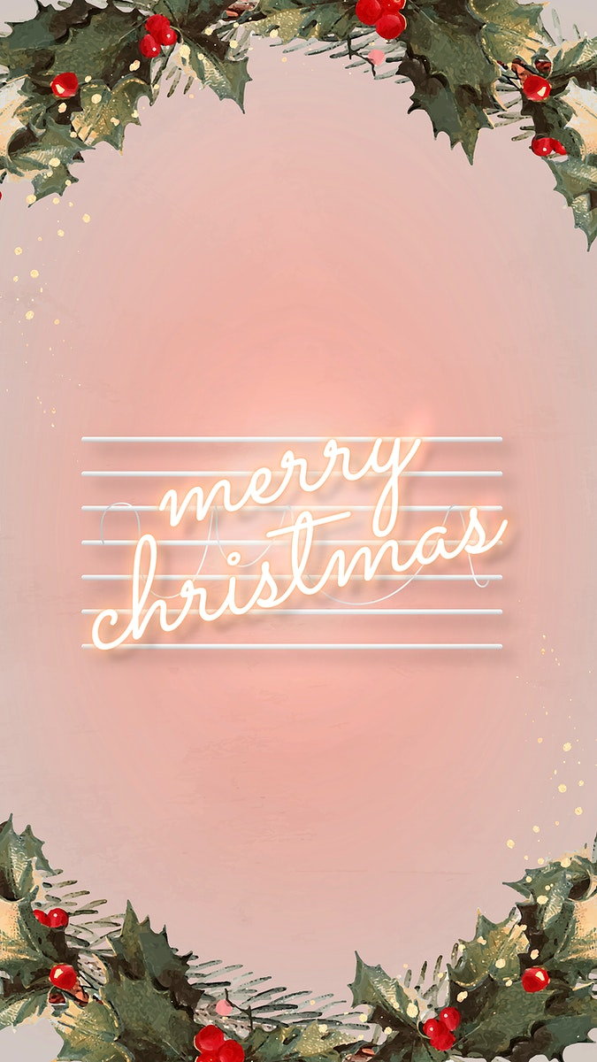 Pink neon text with mistletoes social story template vector