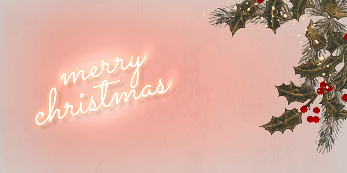 Pink neon text with mistletoes social banner template vector
