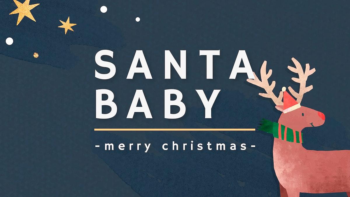 Reindeer on blue background template vector