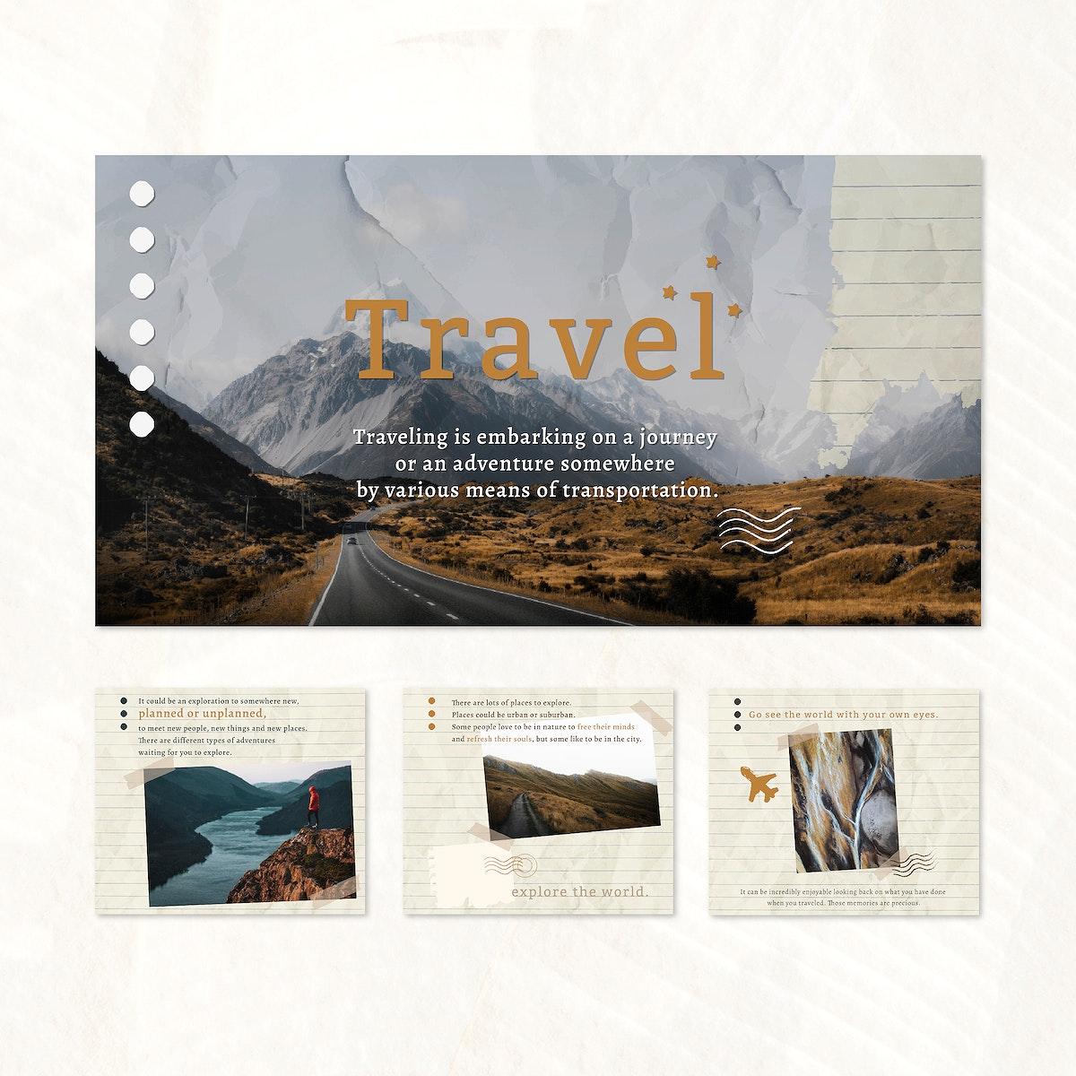 Travel blog website template set vector
