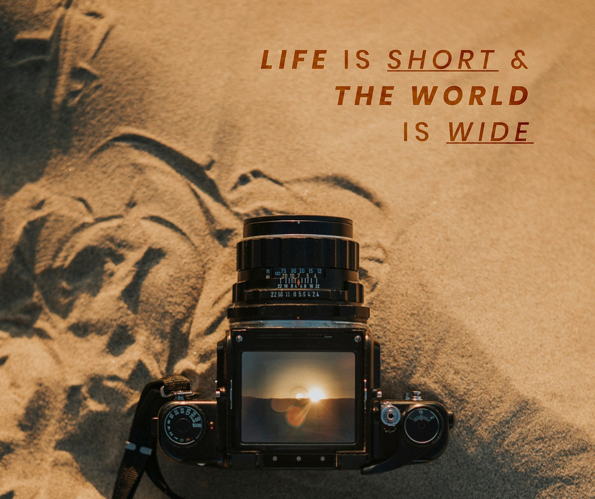 Life is short and the world is wide, travel blog website template vector