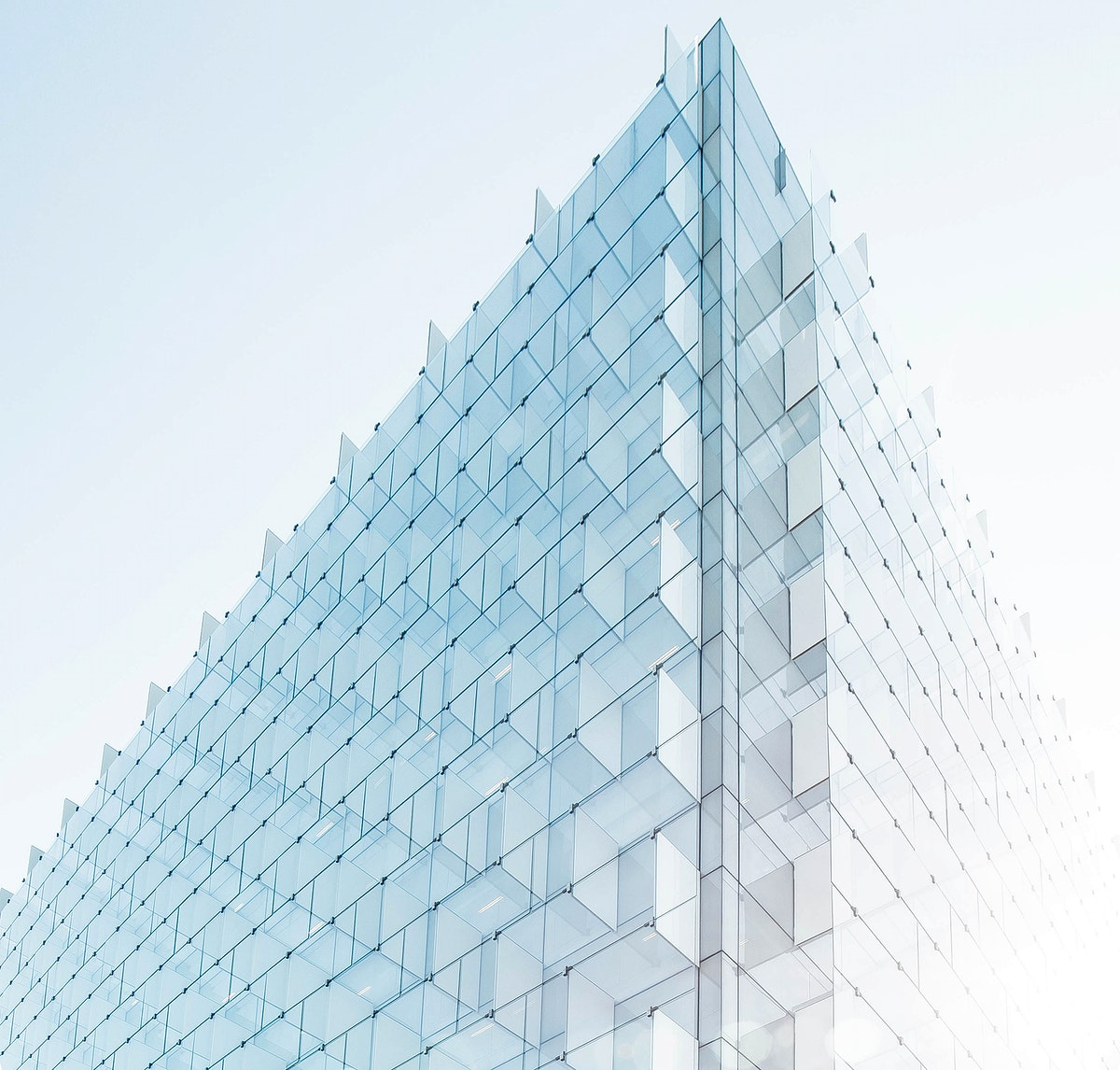 The edge of a building facade with glass plates on it in Madrid. Original public domain image from Wikimedia Commons