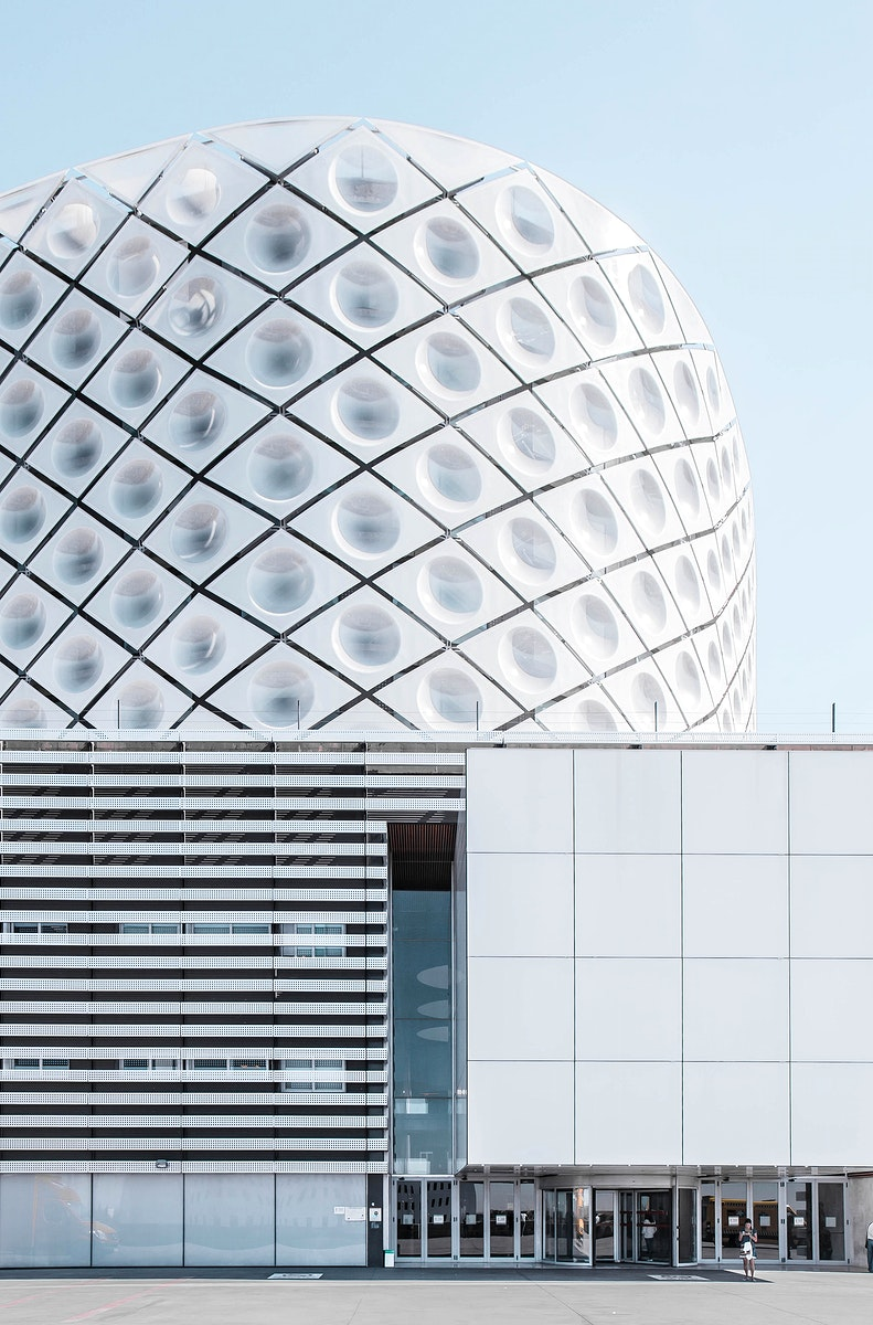 A modern geometric building design in Madrid.. Original public domain image from Wikimedia Commons