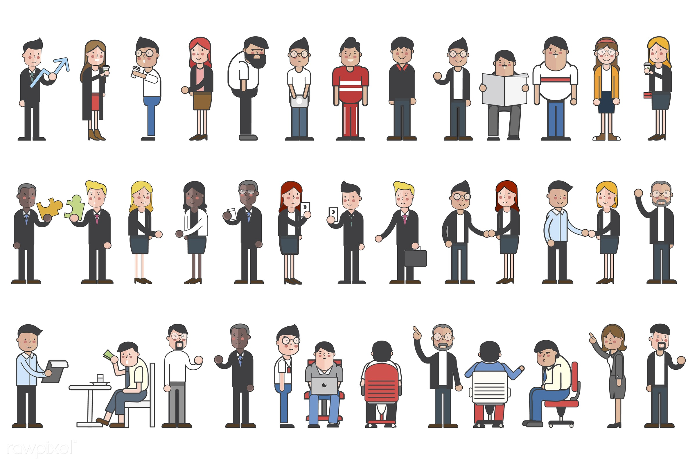 Collection of uations - set, collection, cartoon, character, drawing, graphic, illustration, people, vector, icon, mixed,...