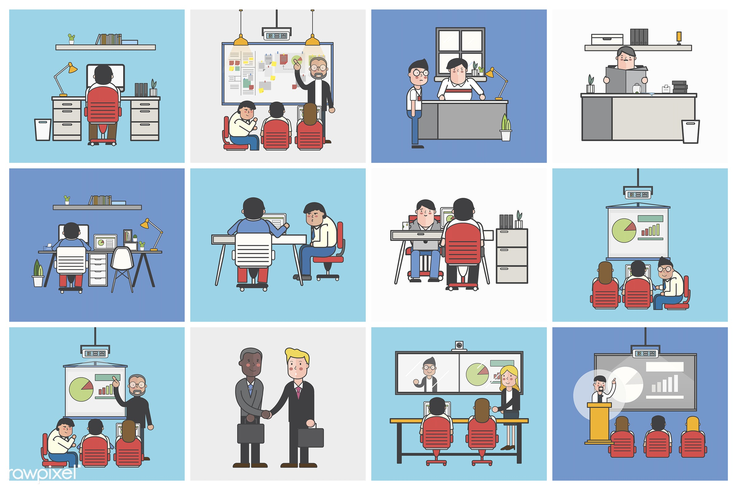 Collection of illustrated office workers in various daily situations - office, conference, strategy, character, employee,...