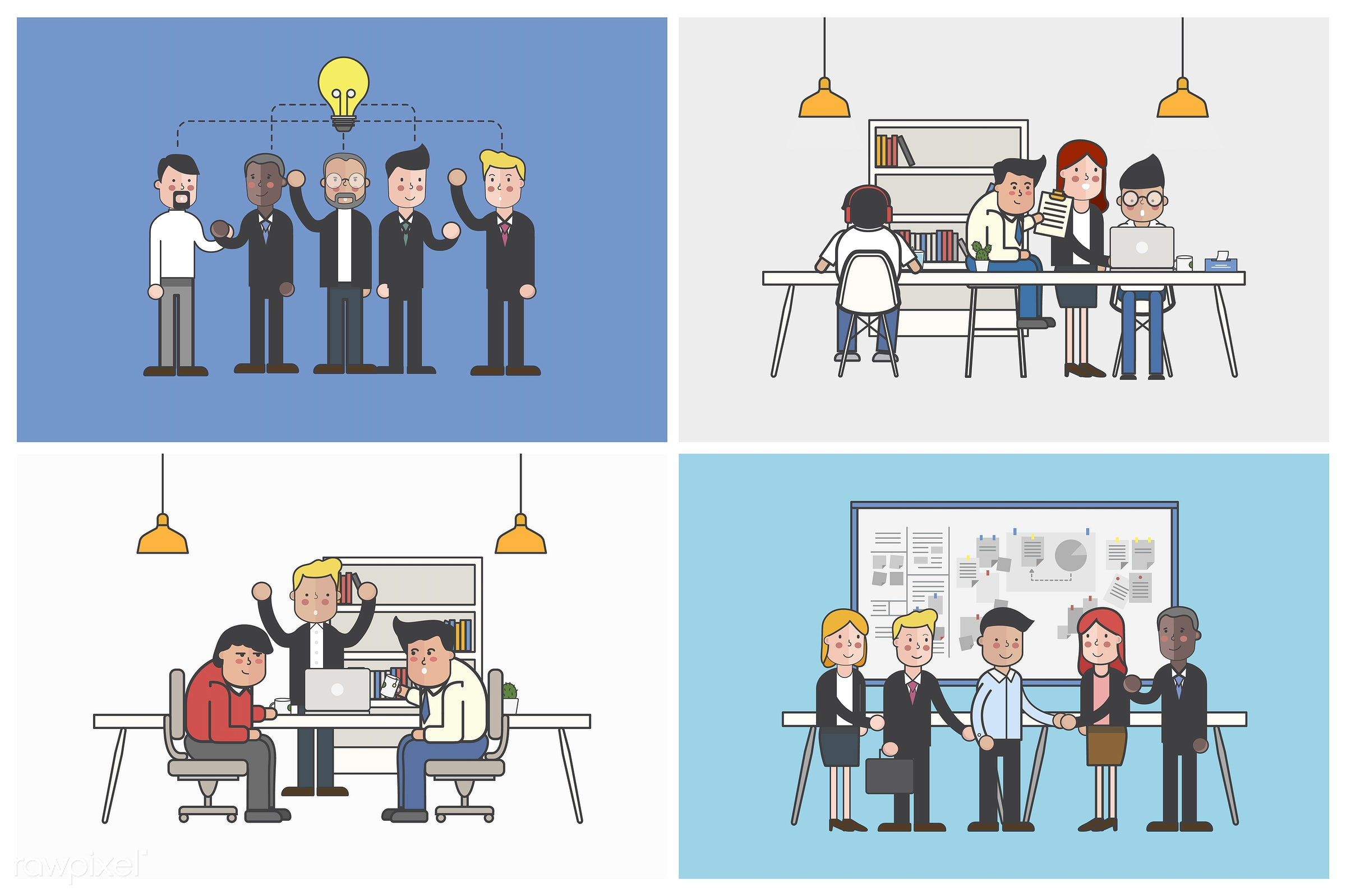 Collection of illustrated office workers in various daily situations - office, business, meeting, analysis, artwork, avatar...