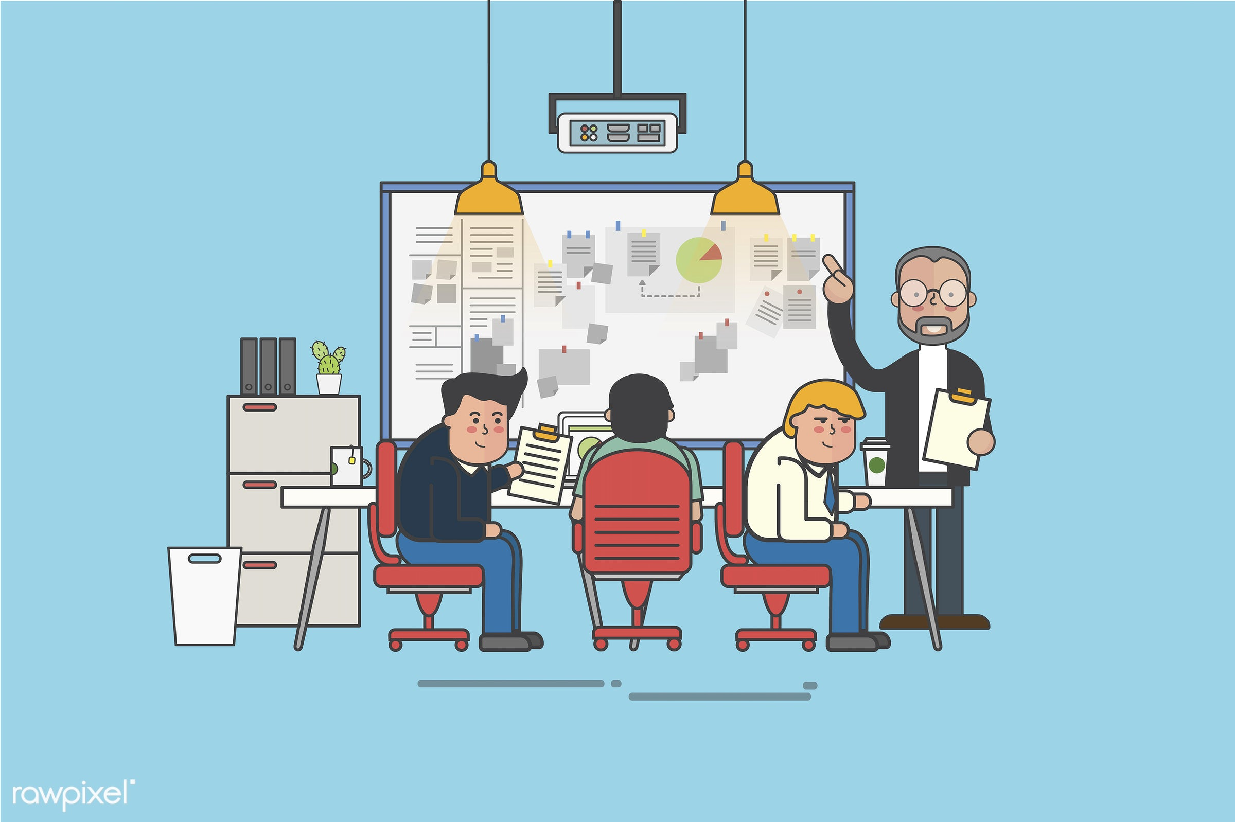 Illustration of an office and office workers - meeting, analysis, artwork, avatar, business, cartoon, character, conference...