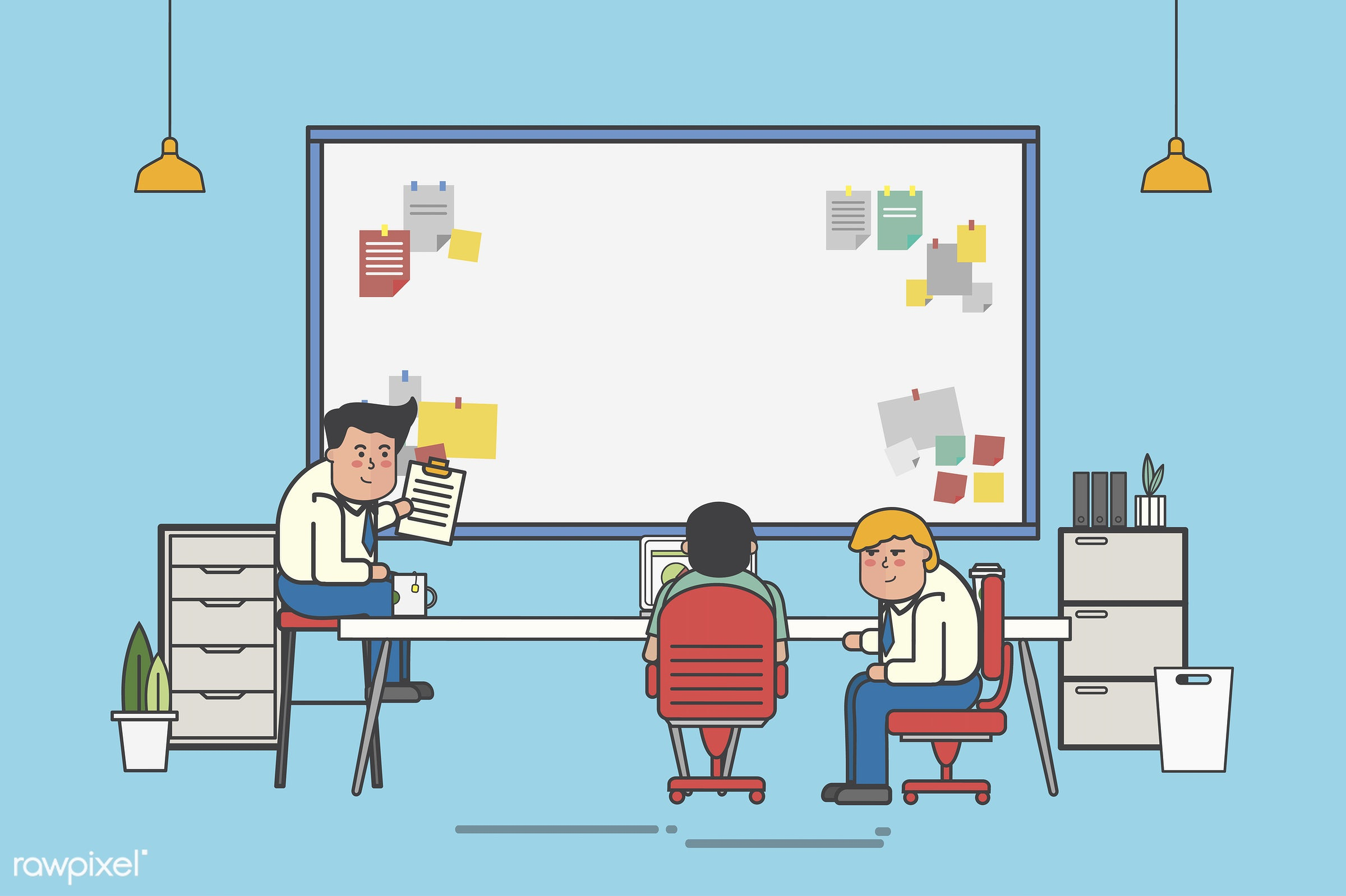 Businessmen planning on a board with copyspace - analysis, artwork, avatar, business, cartoon, character, conference,...