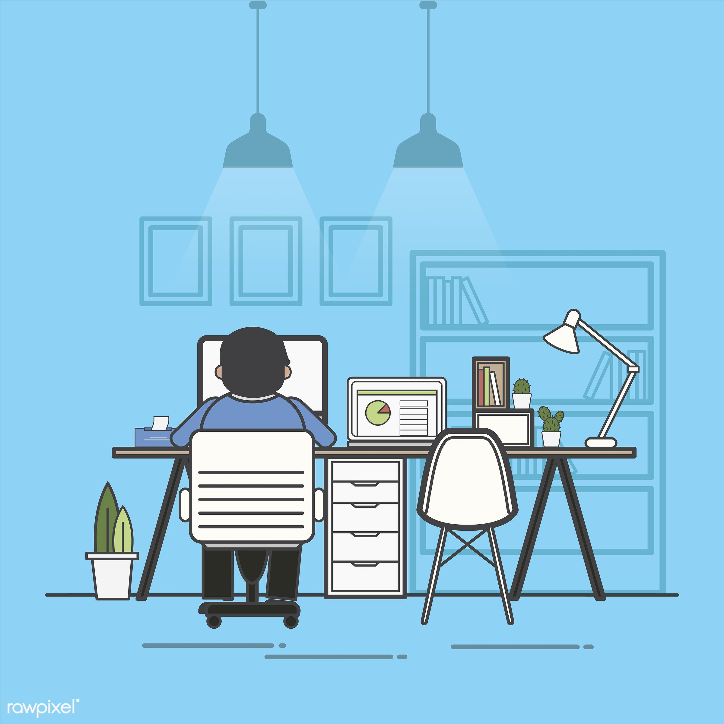 Illustration of office worker avatar - office, alone, avatar, business, cartoon, character, drawing, employee, flat, graphic...