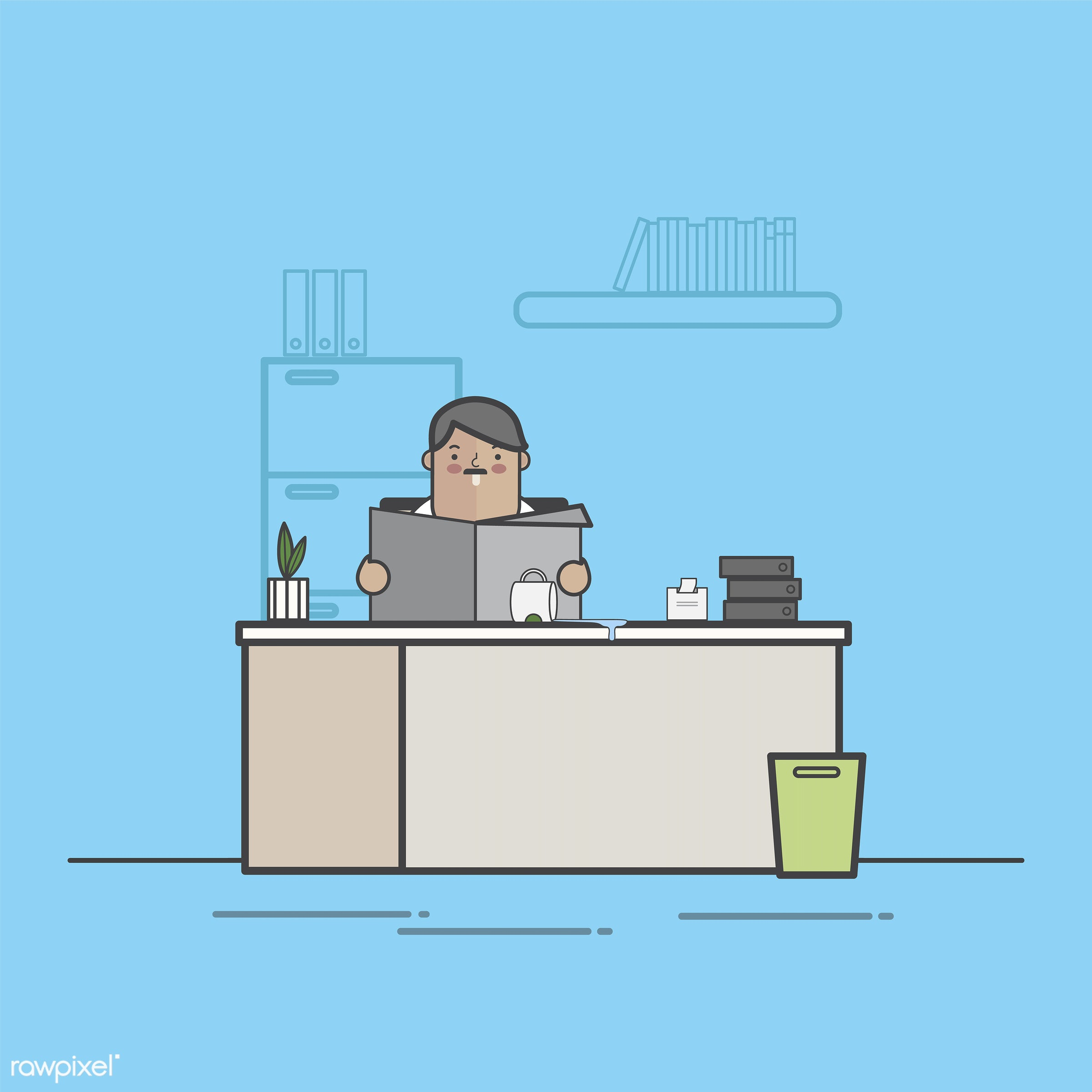 Illustration of business people avatar - workstation, avatar, business, cartoon, character, drawing, employee, flat, graphic...