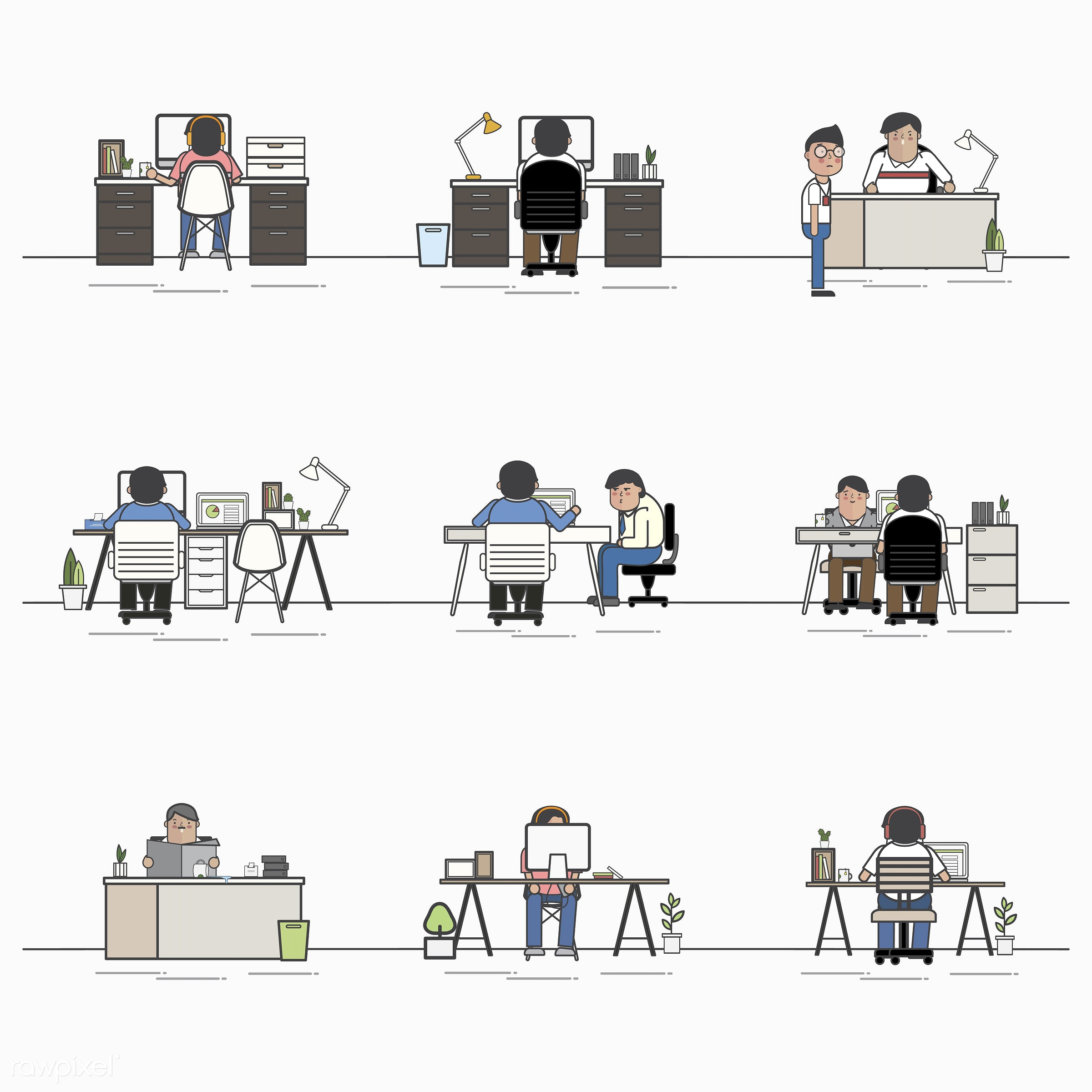 Illustration set of business people avatar - office, avatar, business, cartoon, character, collection, drawing, employee,...