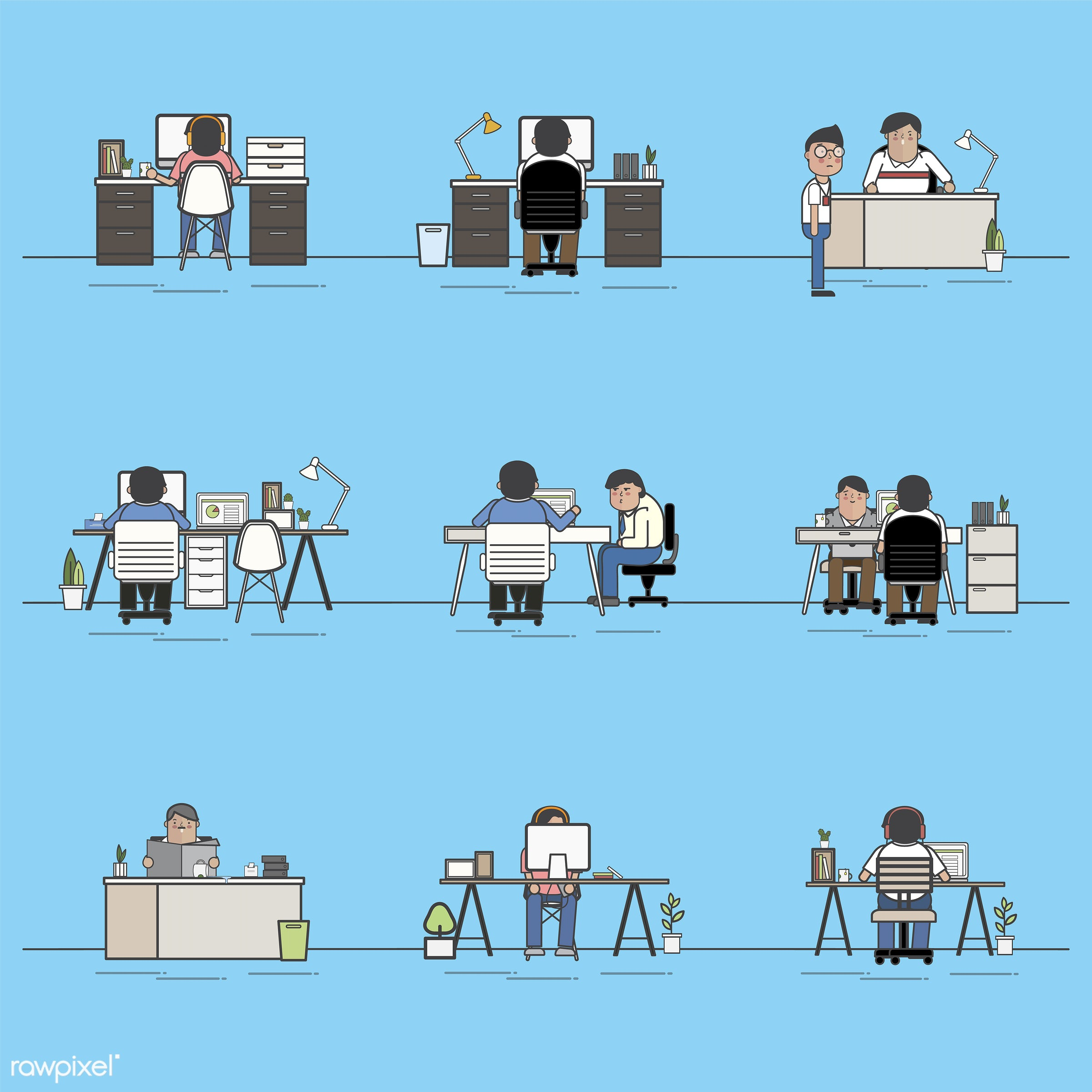 Illustration set of business people avatar - avatar, business, cartoon, character, drawing, employee, flat, graphic,...