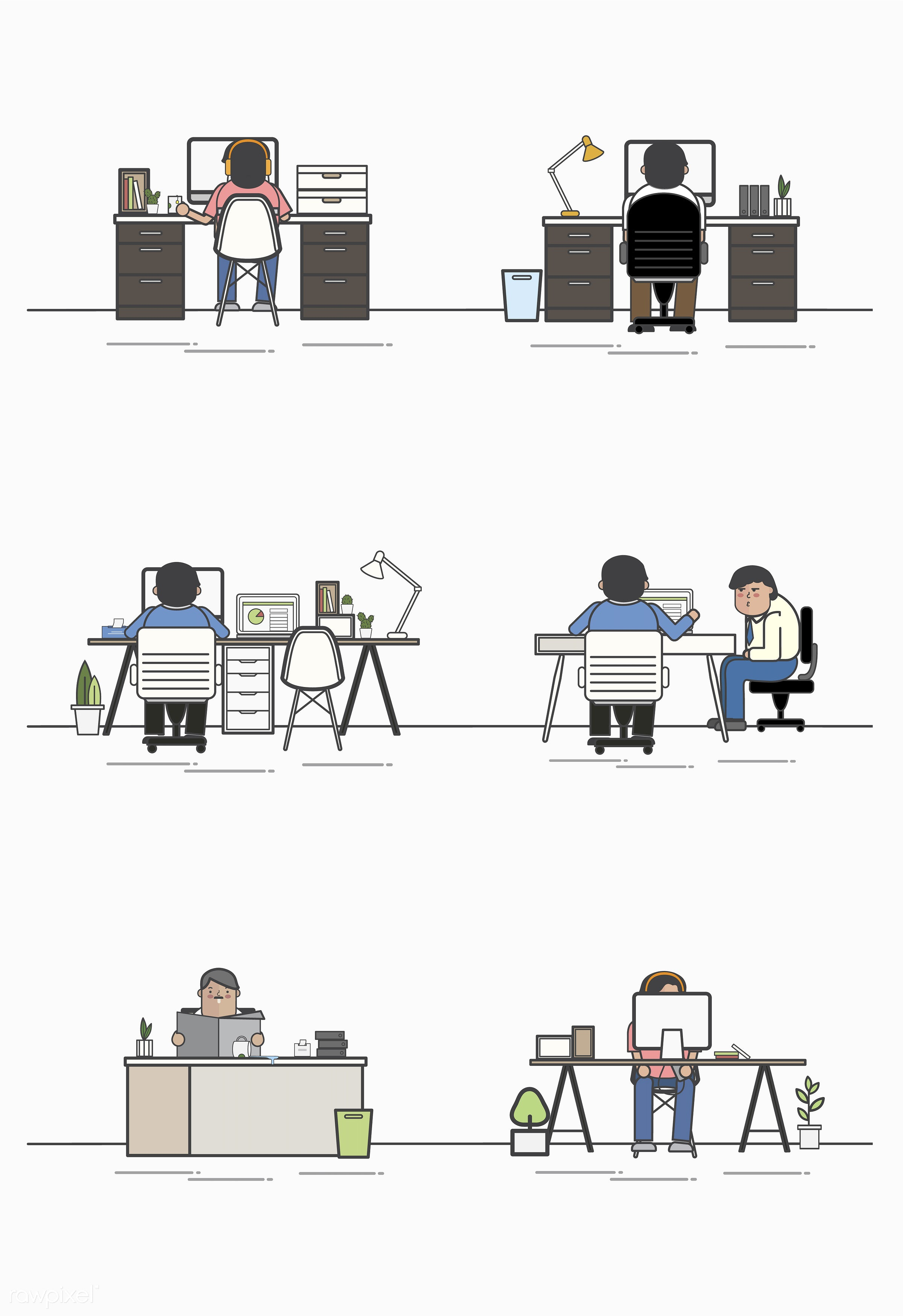 Illustration set of business people avatar - avatar, business, cartoon, character, collection, drawing, employee, flat,...