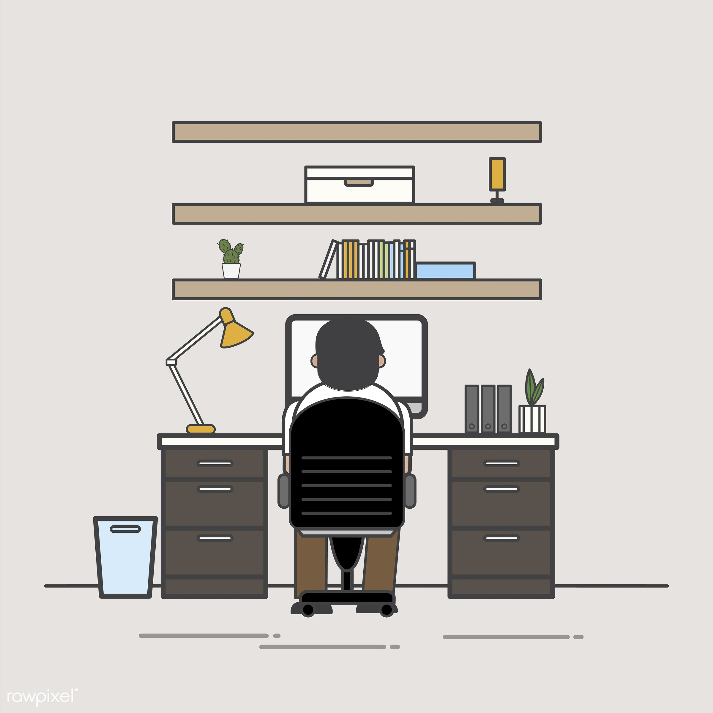 Illustration of office worker avatar - workstation, alone, avatar, business, cartoon, character, drawing, employee, flat,...