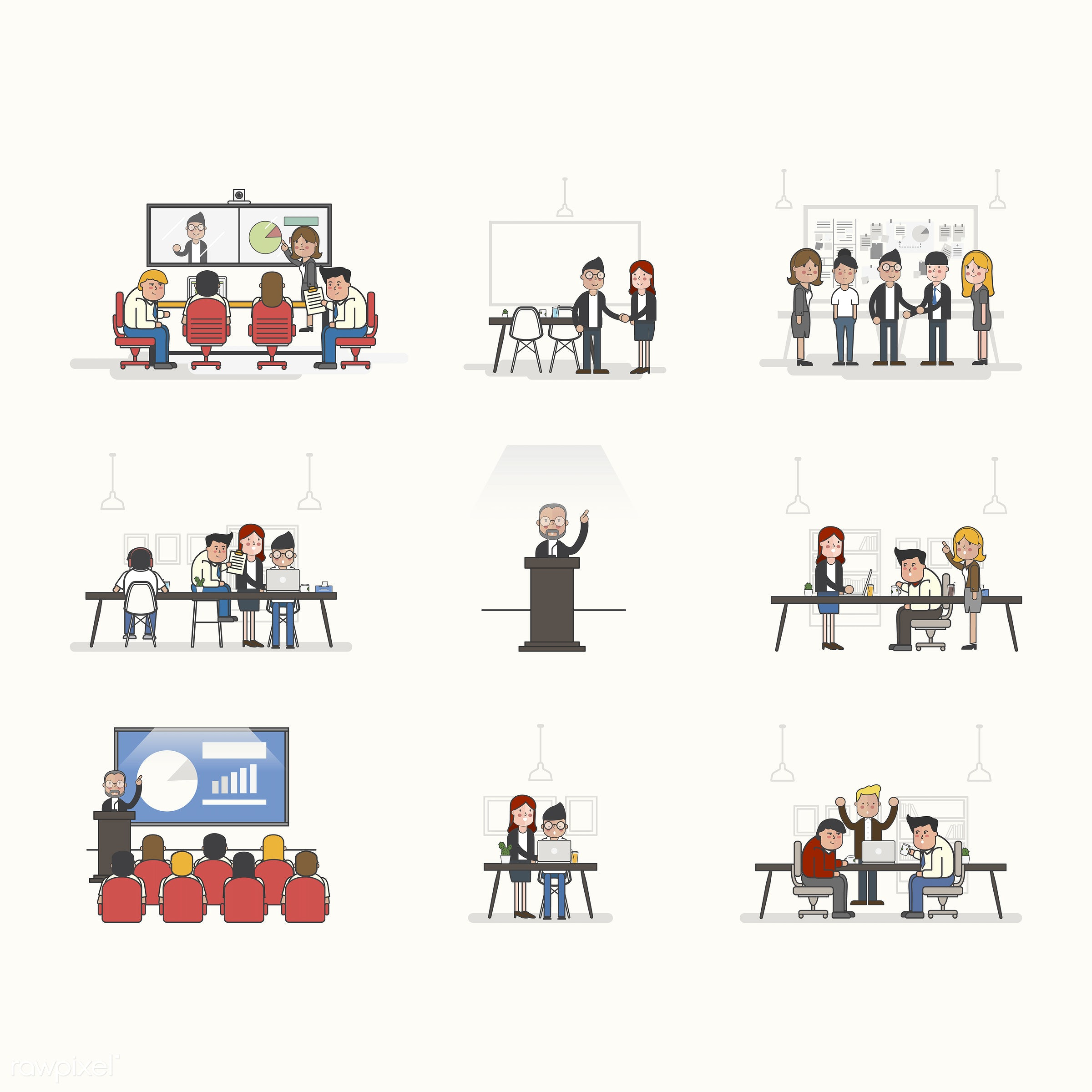 Illustration set of business people avatar - training, working, analysis, artwork, avatar, business, cartoon, character,...