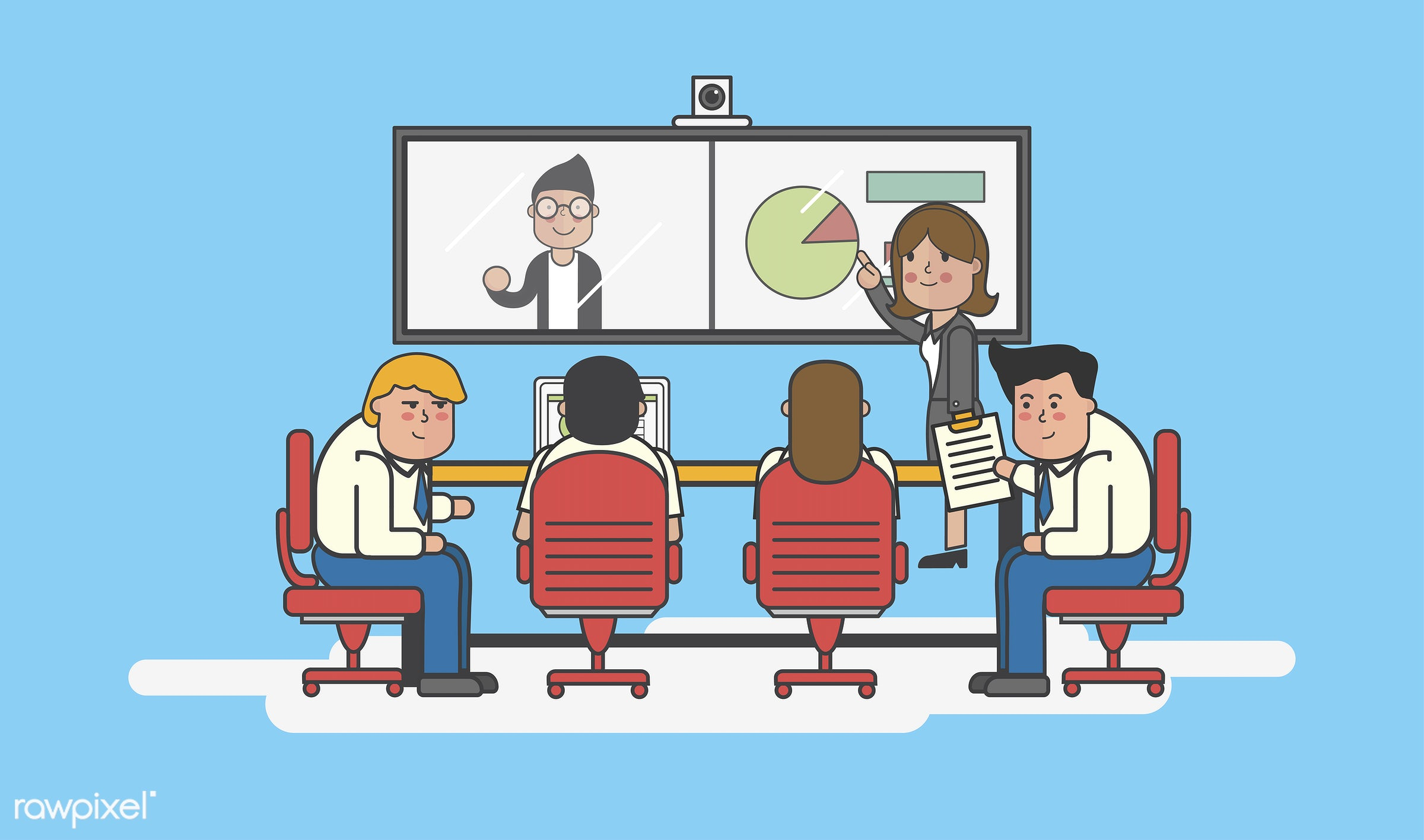 Illustration of business people avatar - training, analysis, artwork, avatar, business, cartoon, character, conference,...