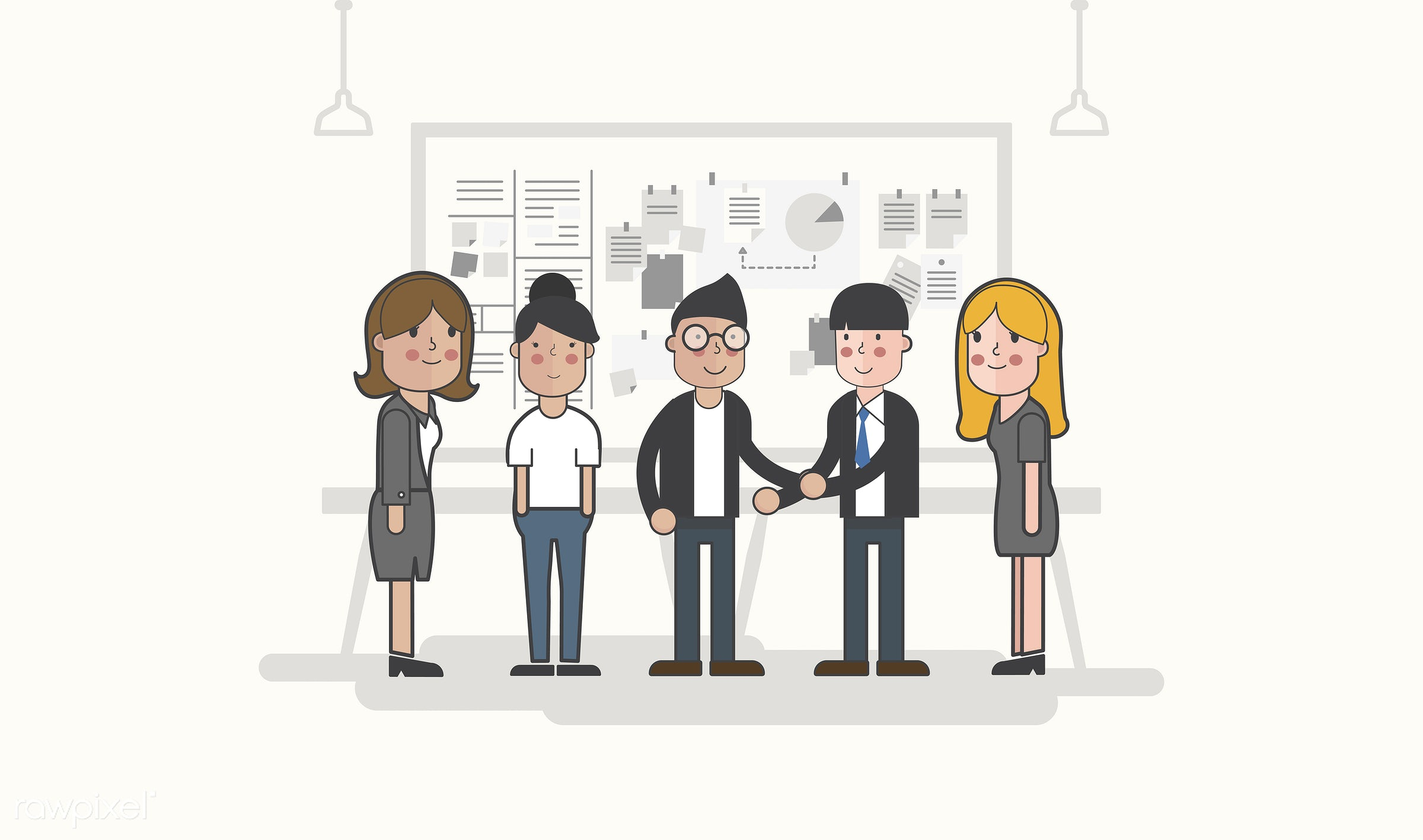 Illustration of business people avatar - presentation, analysis, artwork, avatar, business, cartoon, character, conference,...