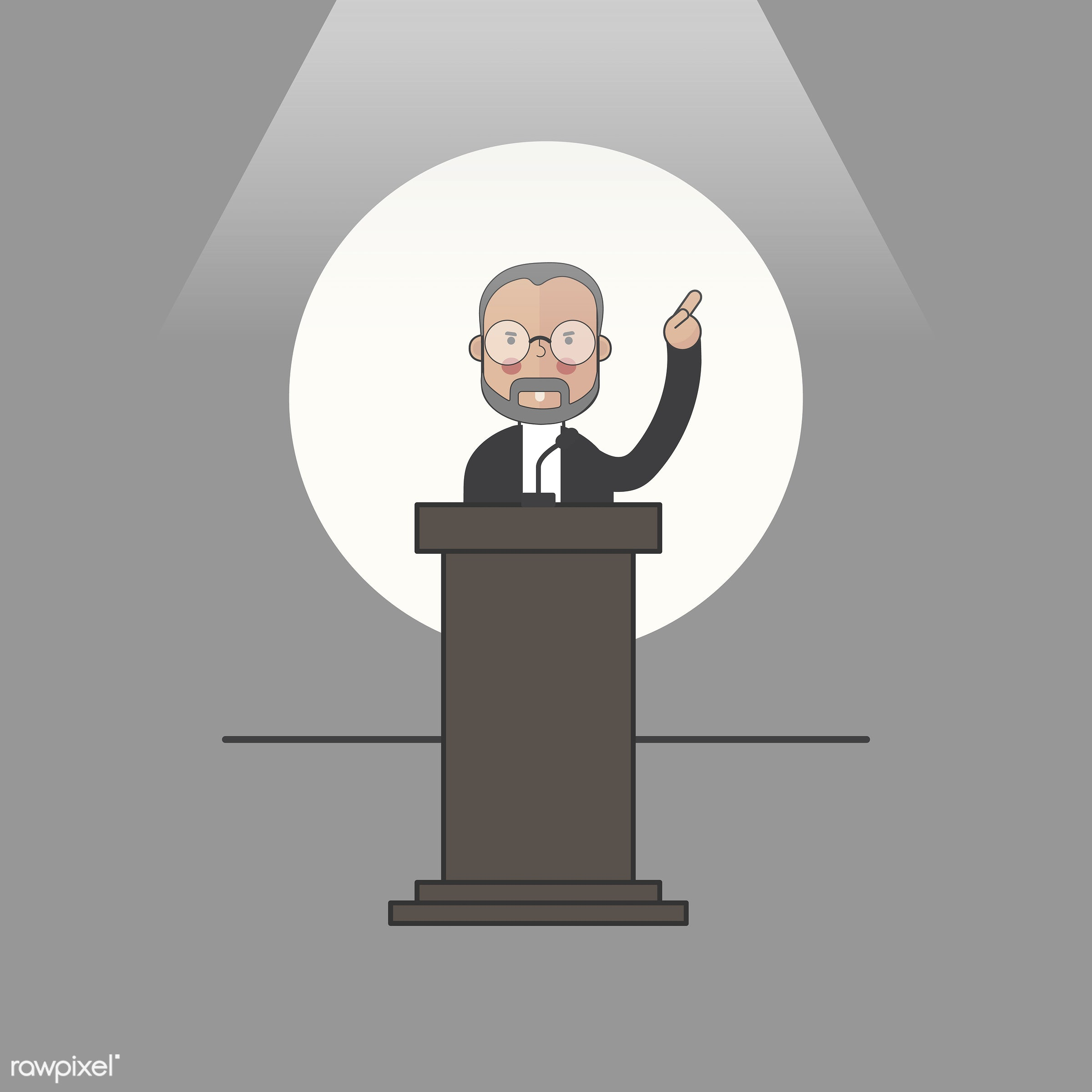 Illustration of people avatar - icon, public, speaker, president, politician, man, vector, speech, talk, spokesman,...