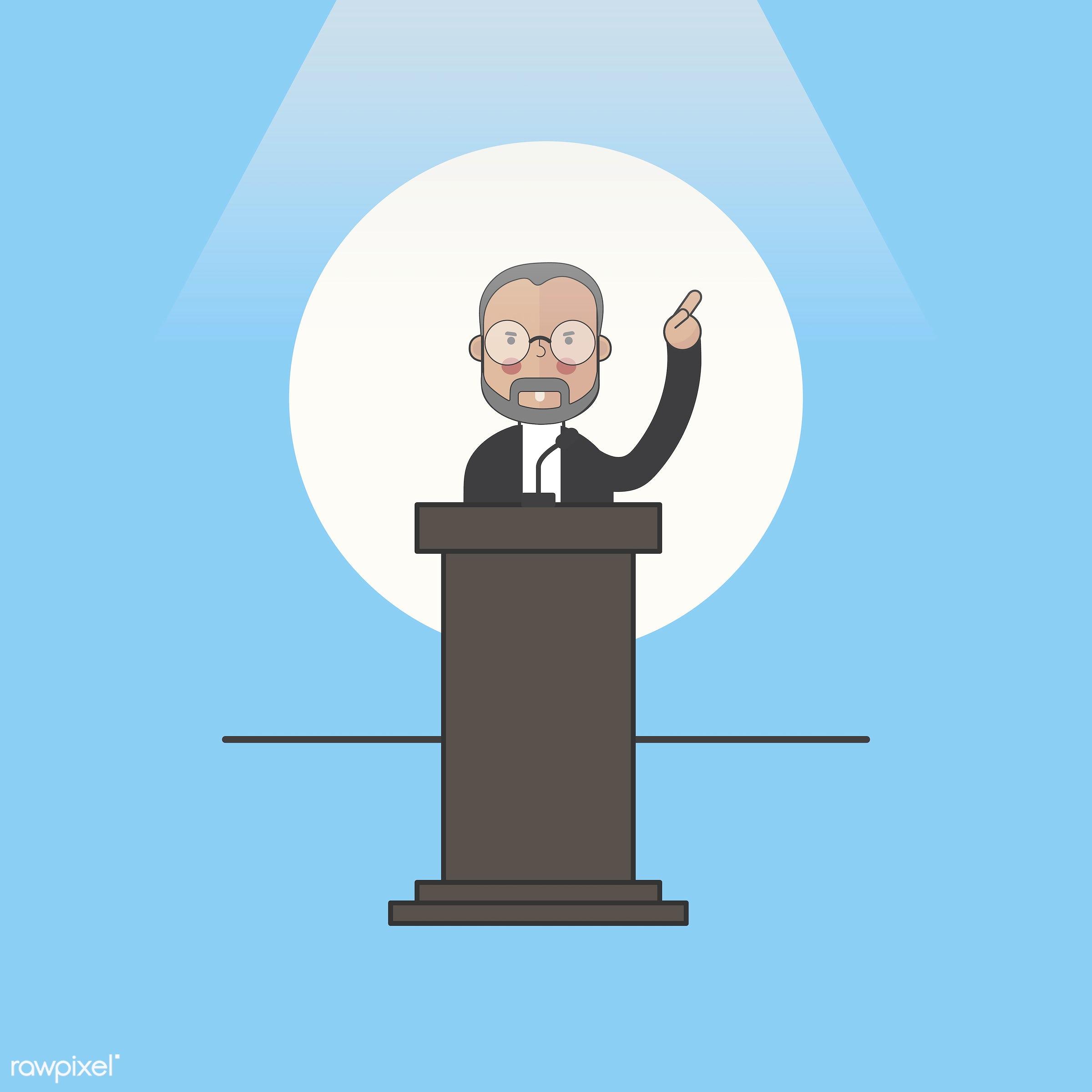 Illustration of people avatar - icon, public, speaker, president, politician, man, vector, speech, talk, spokesman,...
