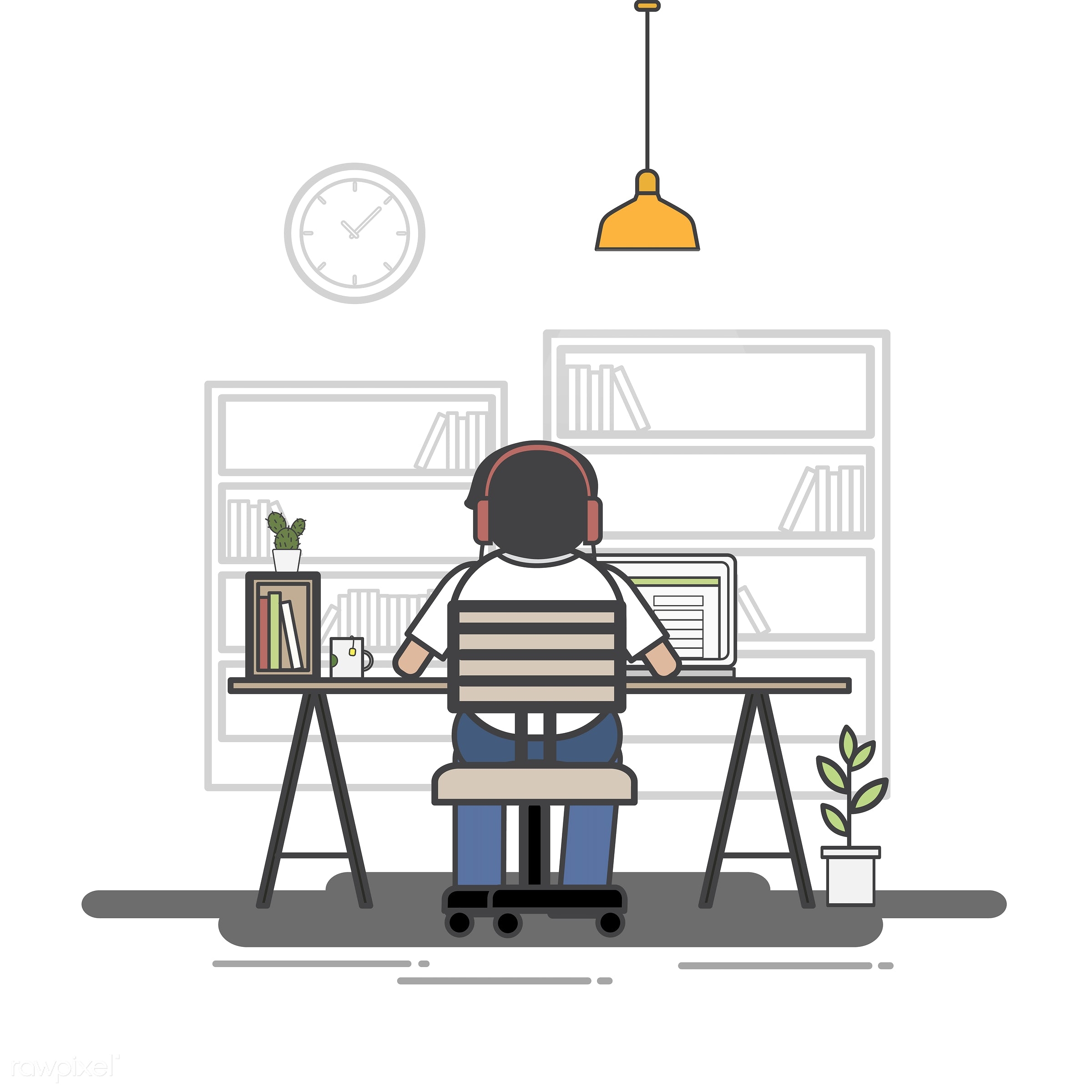 Illustration of office worker avatar - alone, avatar, business, cartoon, character, drawing, employee, flat, graphic,...