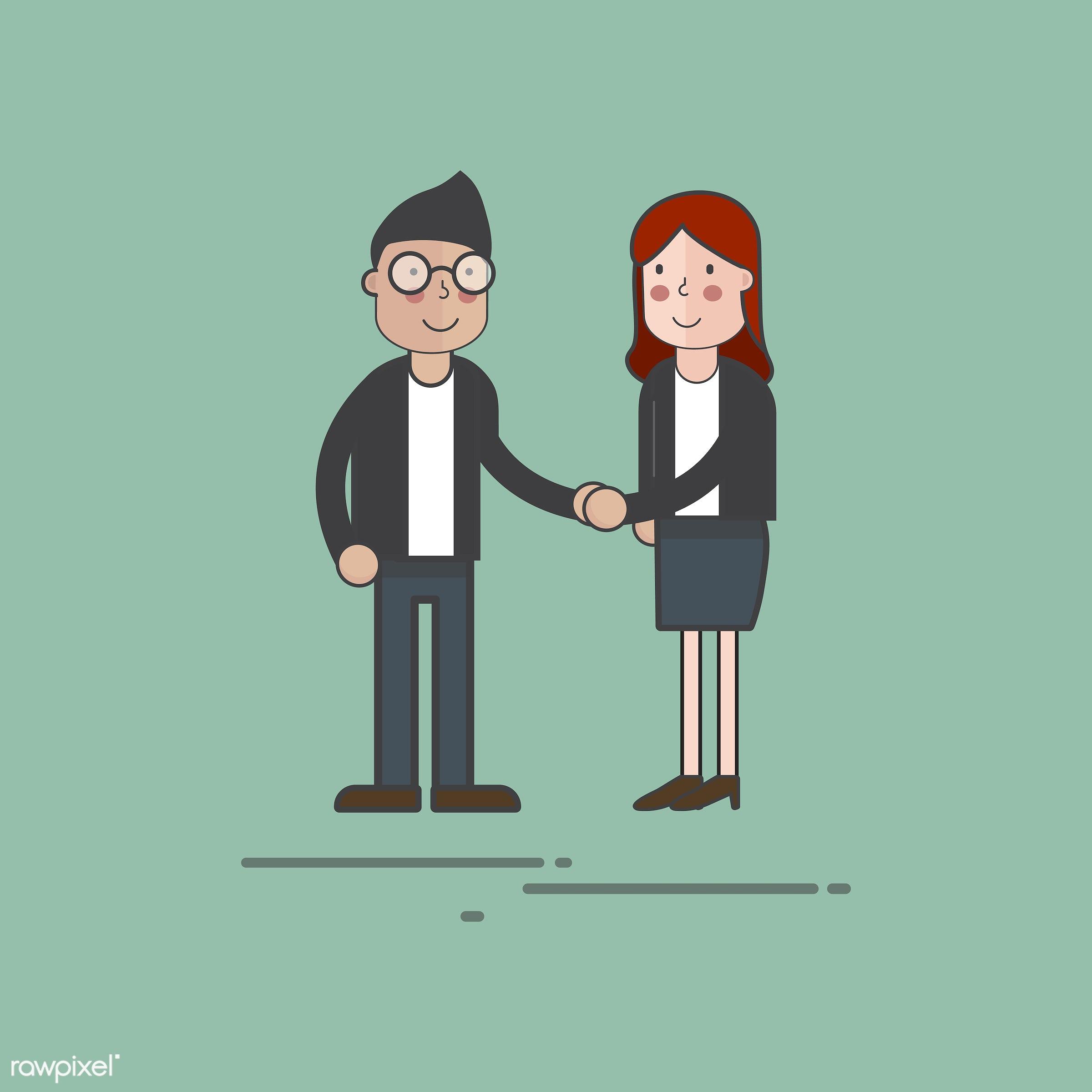 Illustration of people avatar - handshake, avatar, cartoon, character, couple, drawing, emotion, graphic, greeting,...