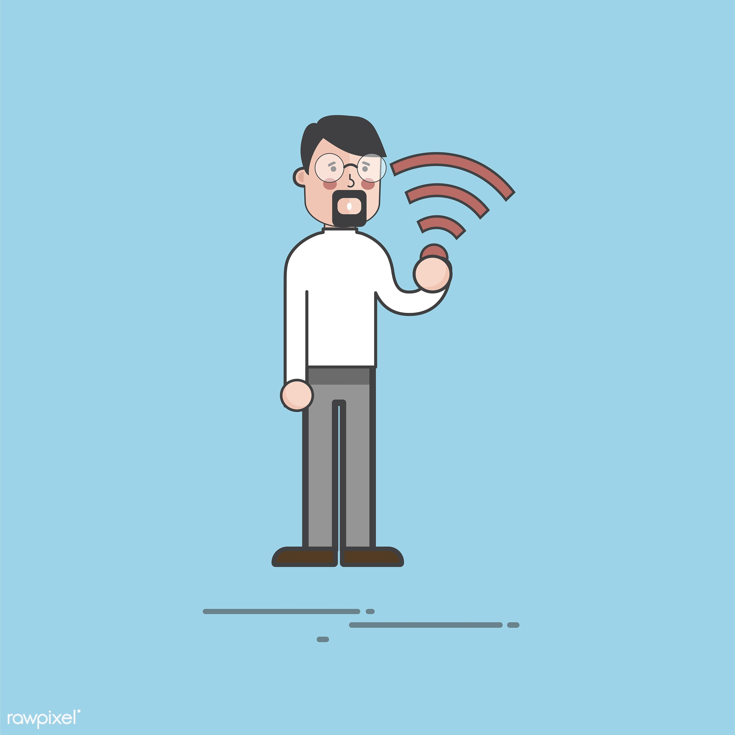 Illustration of people avatar - wifi, avatar, business, cartoon, character, connection, digital, drawing, flat, graphic,...