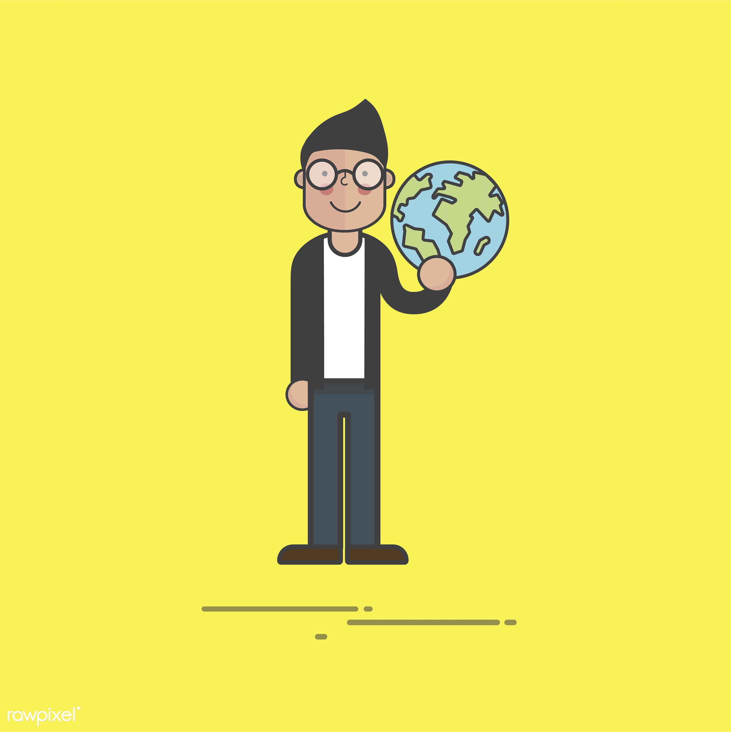 Illustration of people avatar - cartoon, character, drawing, flat, global, graphic, icon, illustration, male, man, sign,...