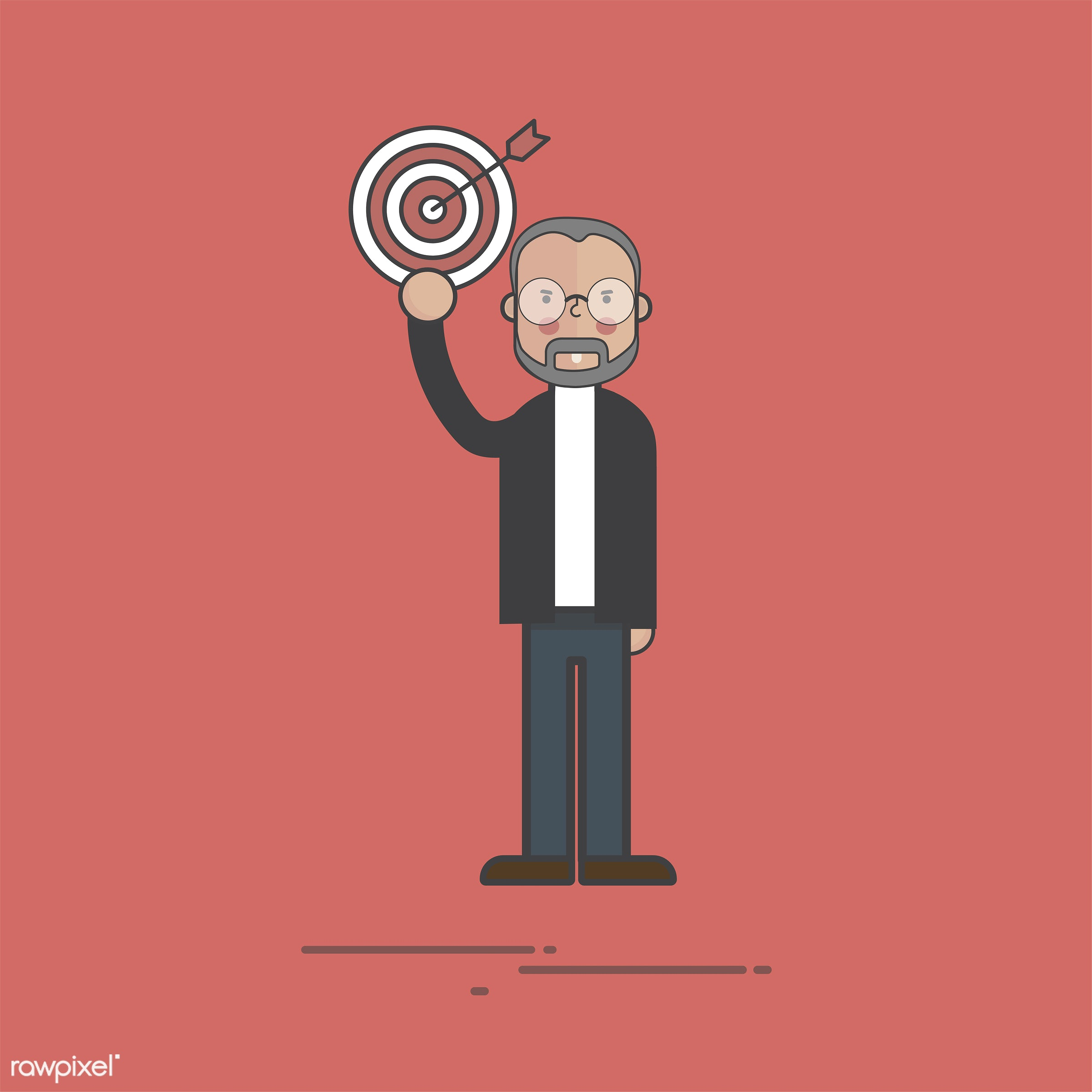 Illustration of people avatar - business, cartoon, character, dartboard, drawing, flat, goals, graphic, icon, illustration,...