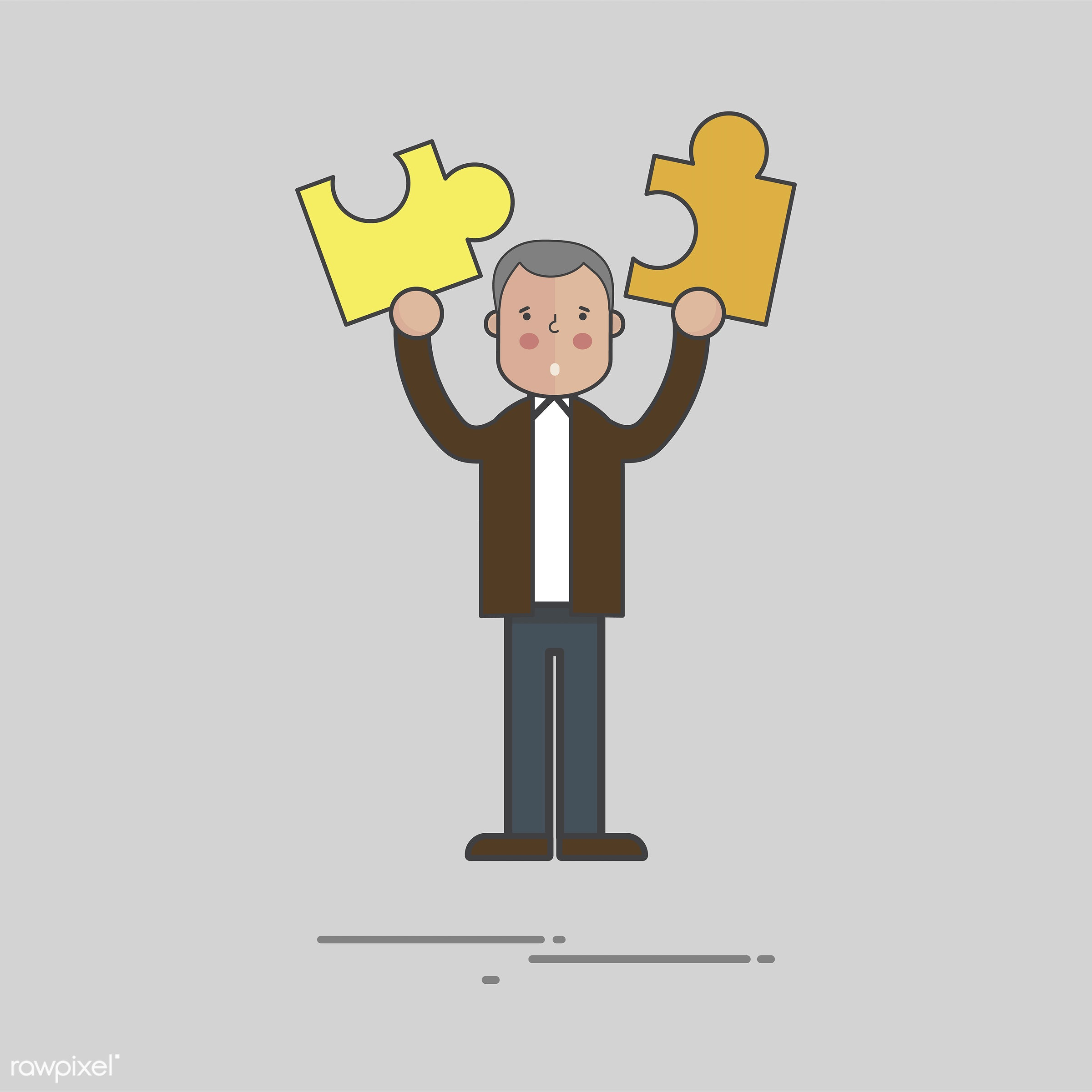 Illustration of people avatar - cartoon, character, drawing, flat, graphic, holding, icon, illustration, jigsaw, male, man,...