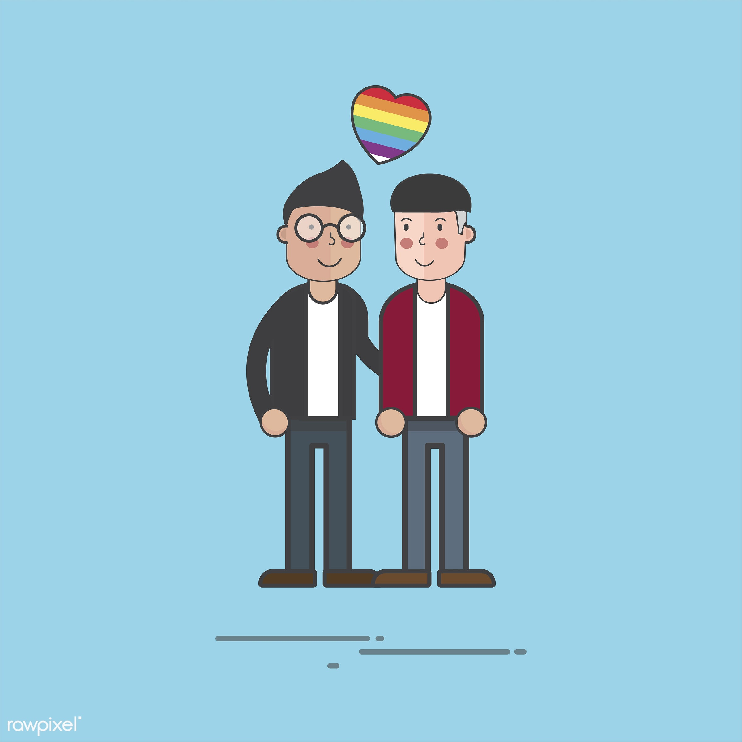 Illustration of people avatar - adult, cartoon, character, couple, dating, drawing, gay, gender, graphic, happiness, heart,...