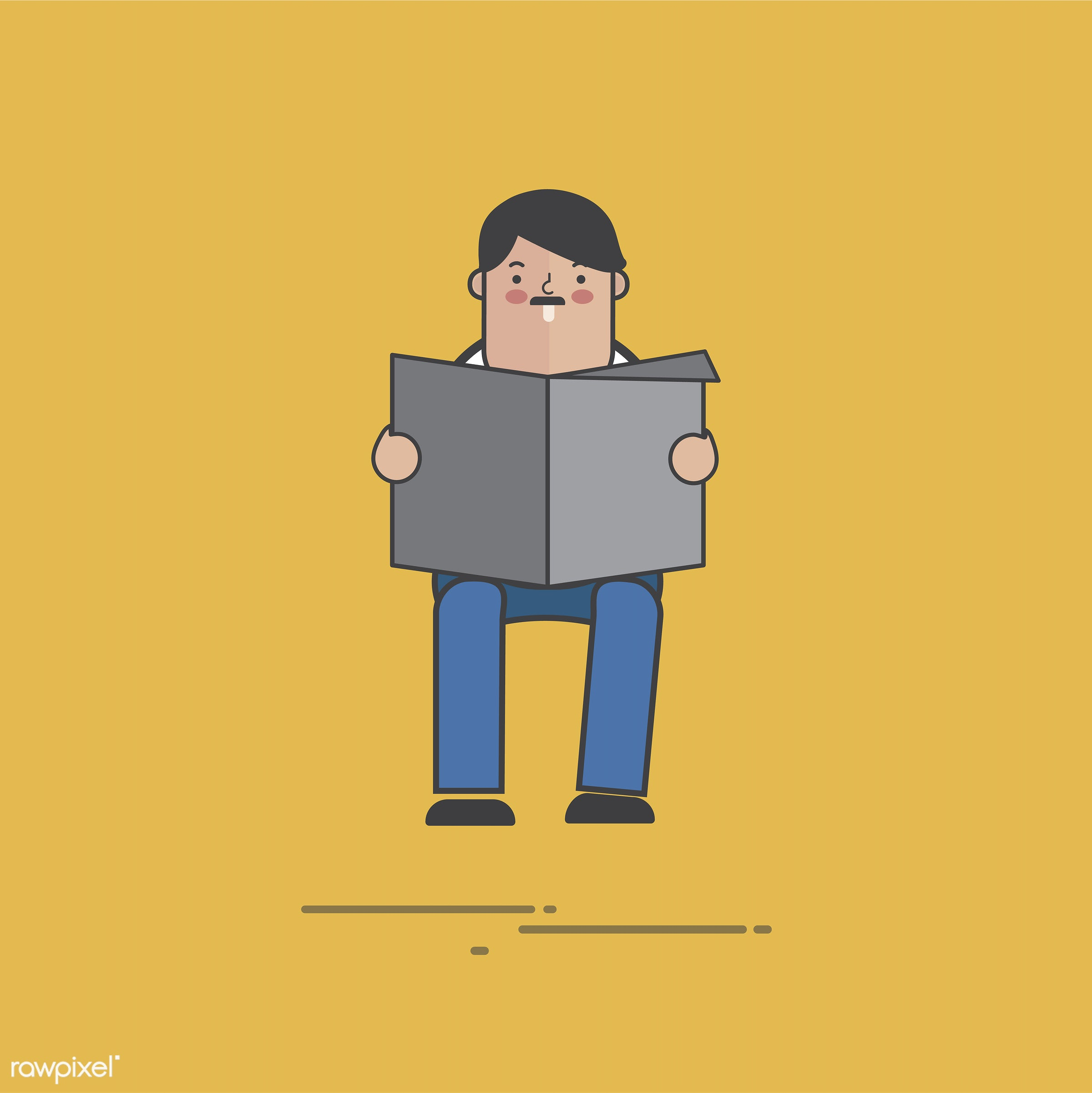 Illustration of people avatar - vector, man, design, news, character, information, person, cartoon, illustration, sitting,...
