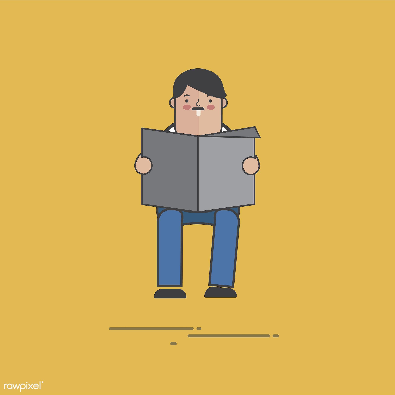 Illustration of people avatar - vector, man, design, news, character, information, person, cartoon, illustration, sitting,...