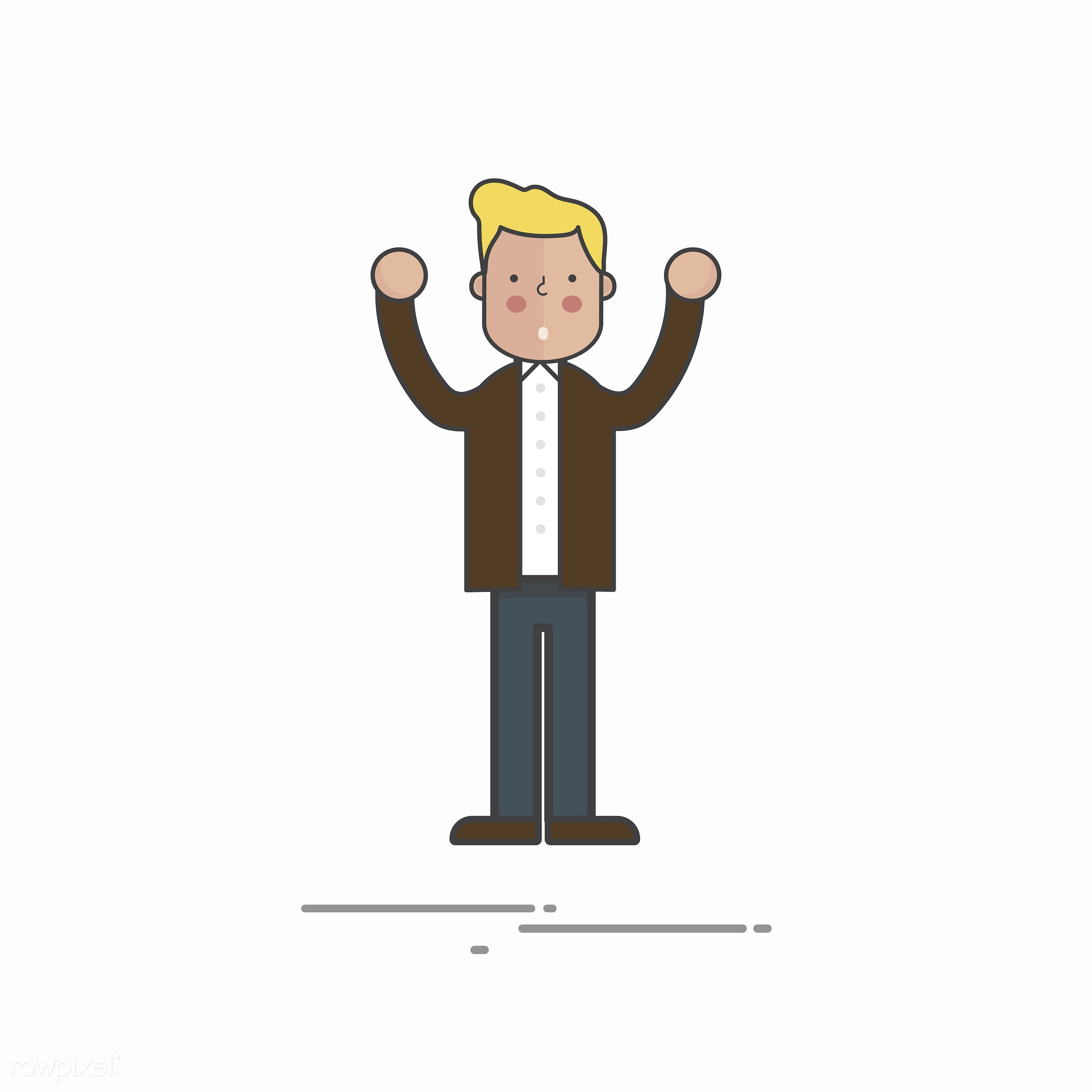 Illustration of people avatar - alone, arms raised, cartoon, character, design, drawing, graphic, guy, illustration, male,...