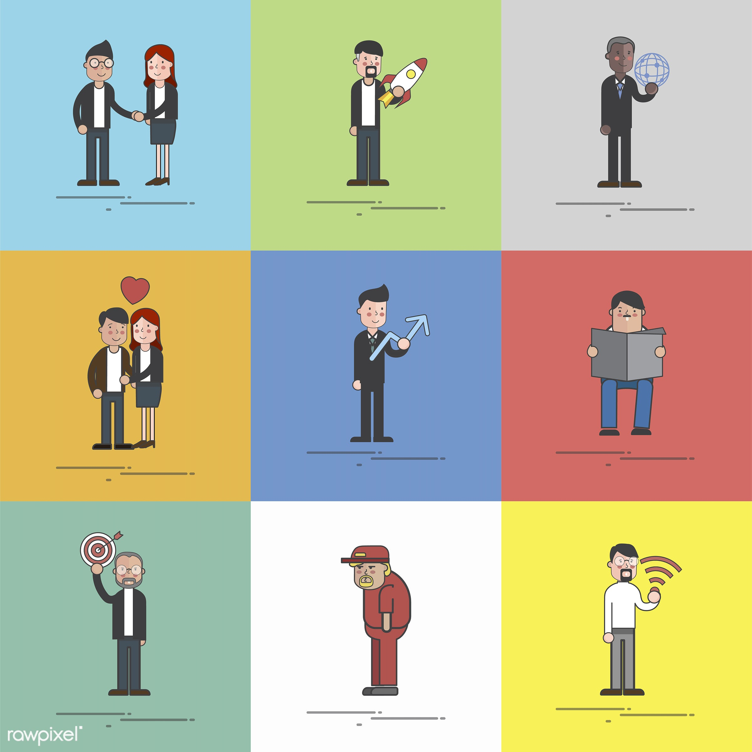Illustration of people avatar - avatar, business, businessman, cartoon, character, collection, diverse, drawing, graphic,...