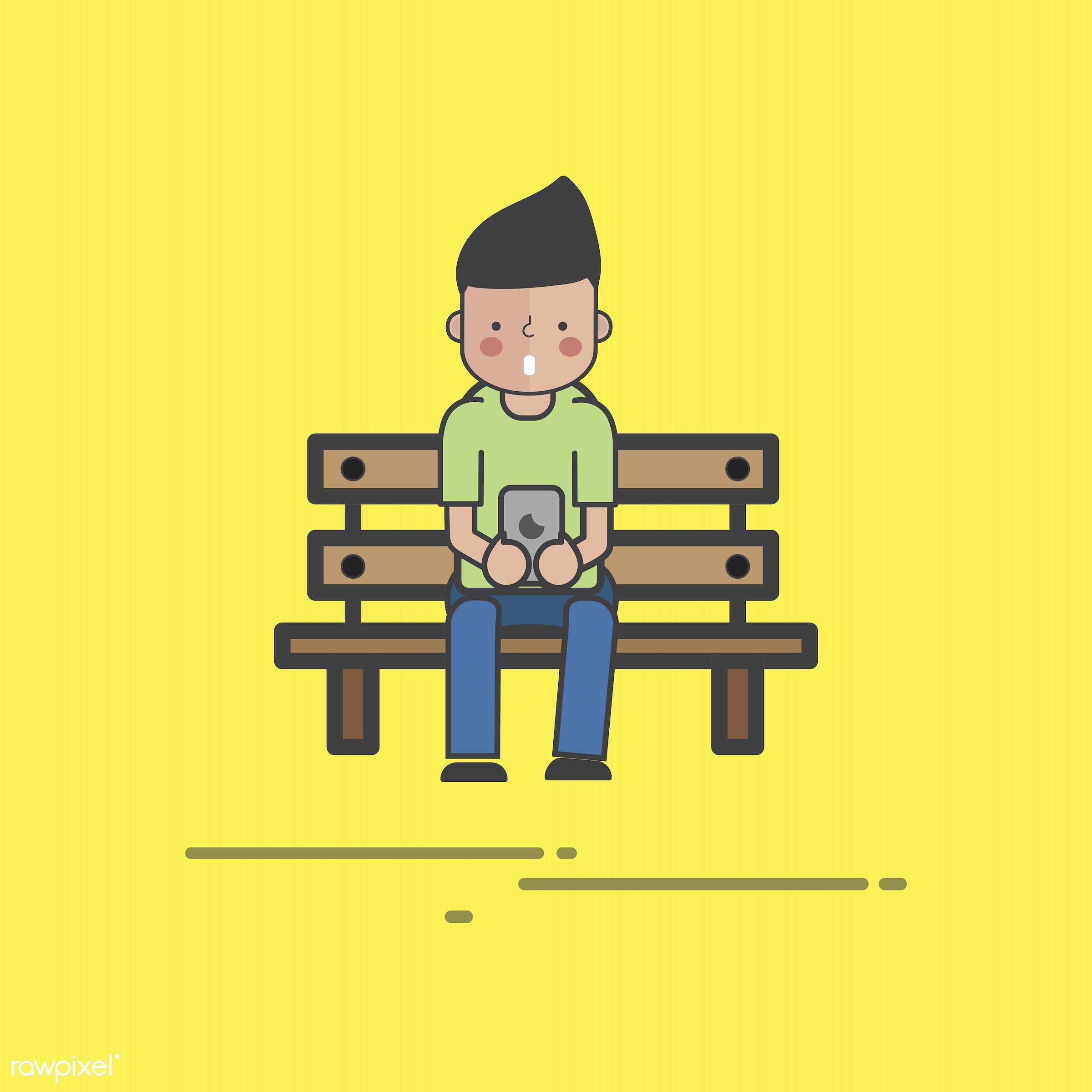 Illustration of people avatar - alone, avatar, cartoon, character, communication, connection, design, device, digital,...